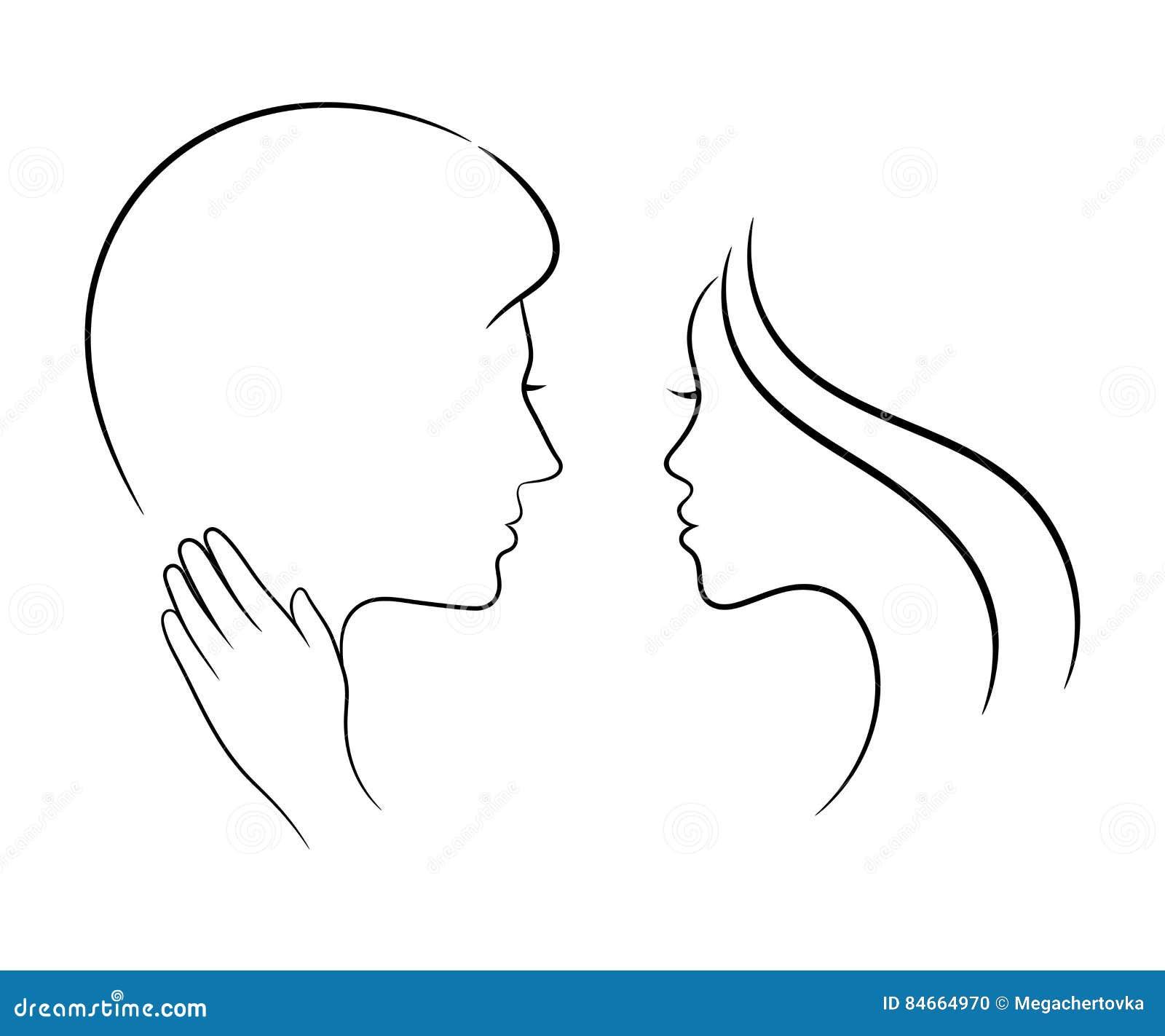 Couples Dans L Amour Dessin De Decoupe Illustration De Vecteur