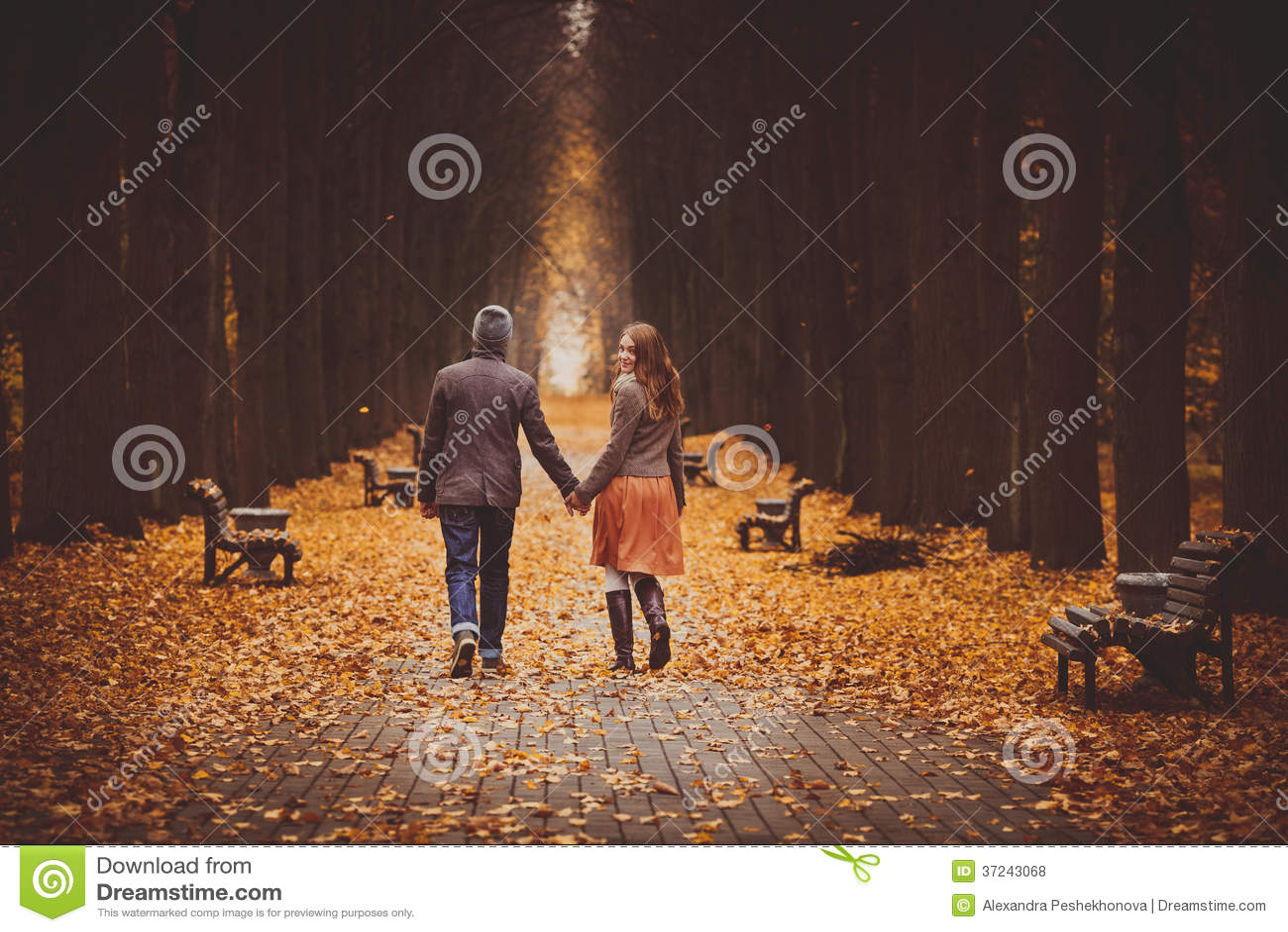 Couples dans l amour marchant sur une belle allée d automne en parc
