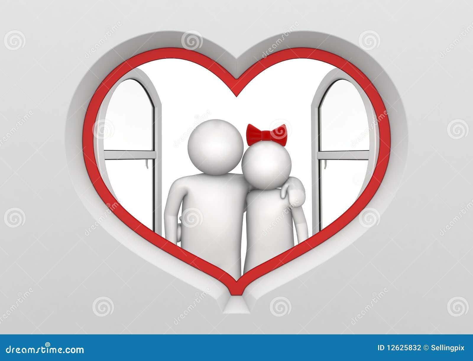 Couples dans l hublot en forme de coeur