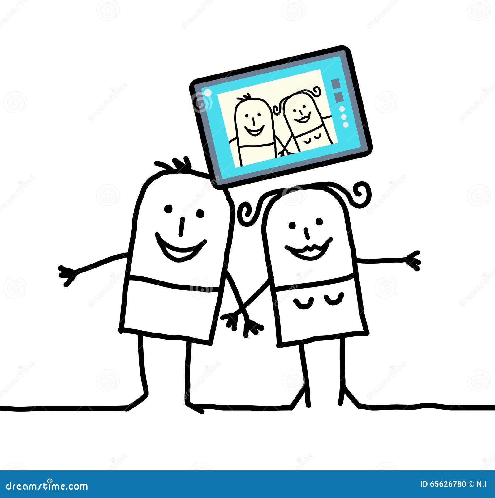 Couples de bande dessinée envoyant une photo de lui-même