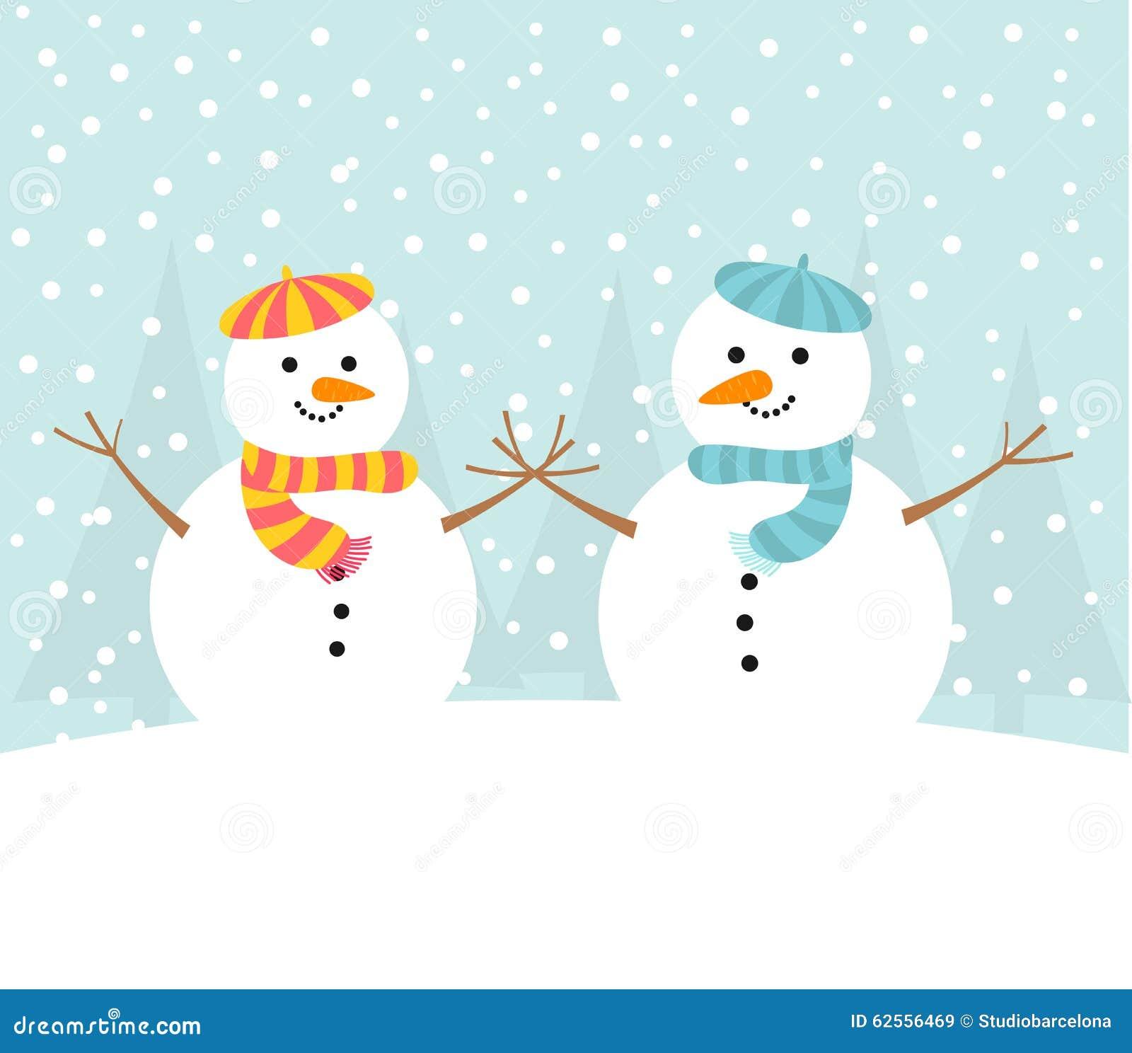 Couples de bonhomme de neige en hiver illustration de - Bonhomme de neige decoration exterieure ...