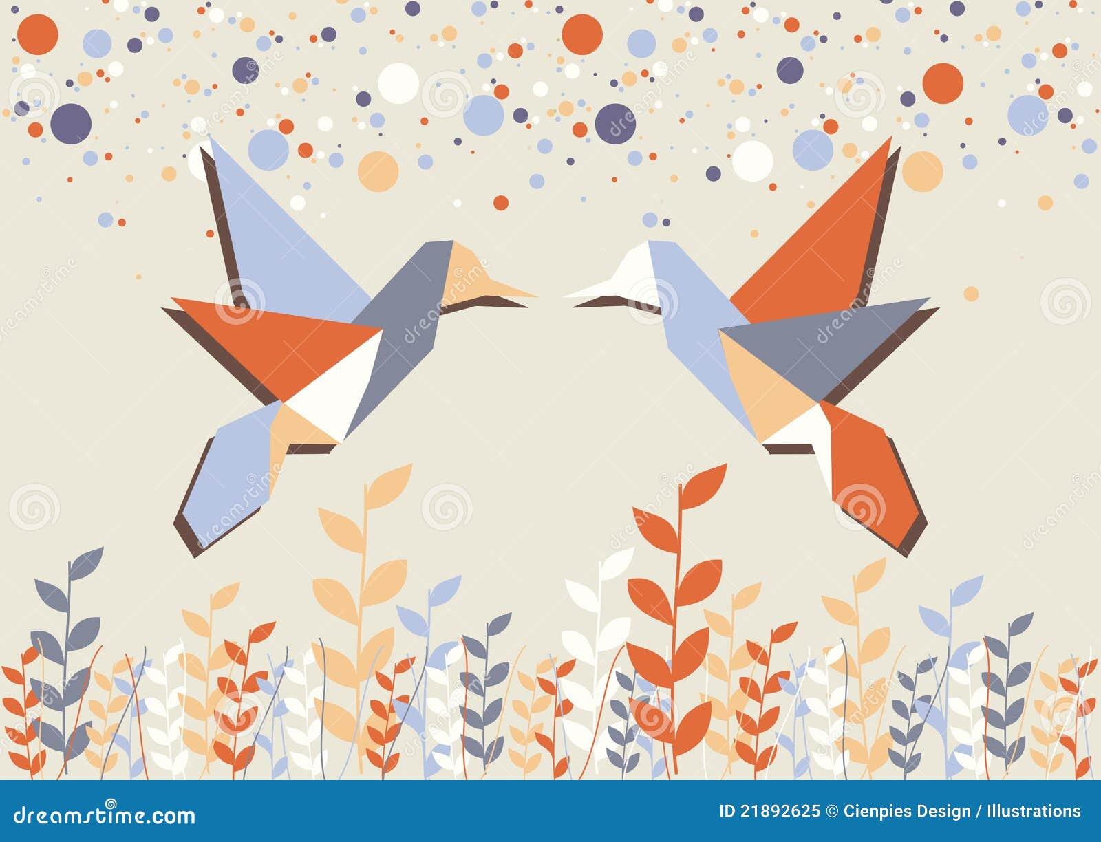 Couples De Colibri Dorigami Au Dessus De Beige Illustration De