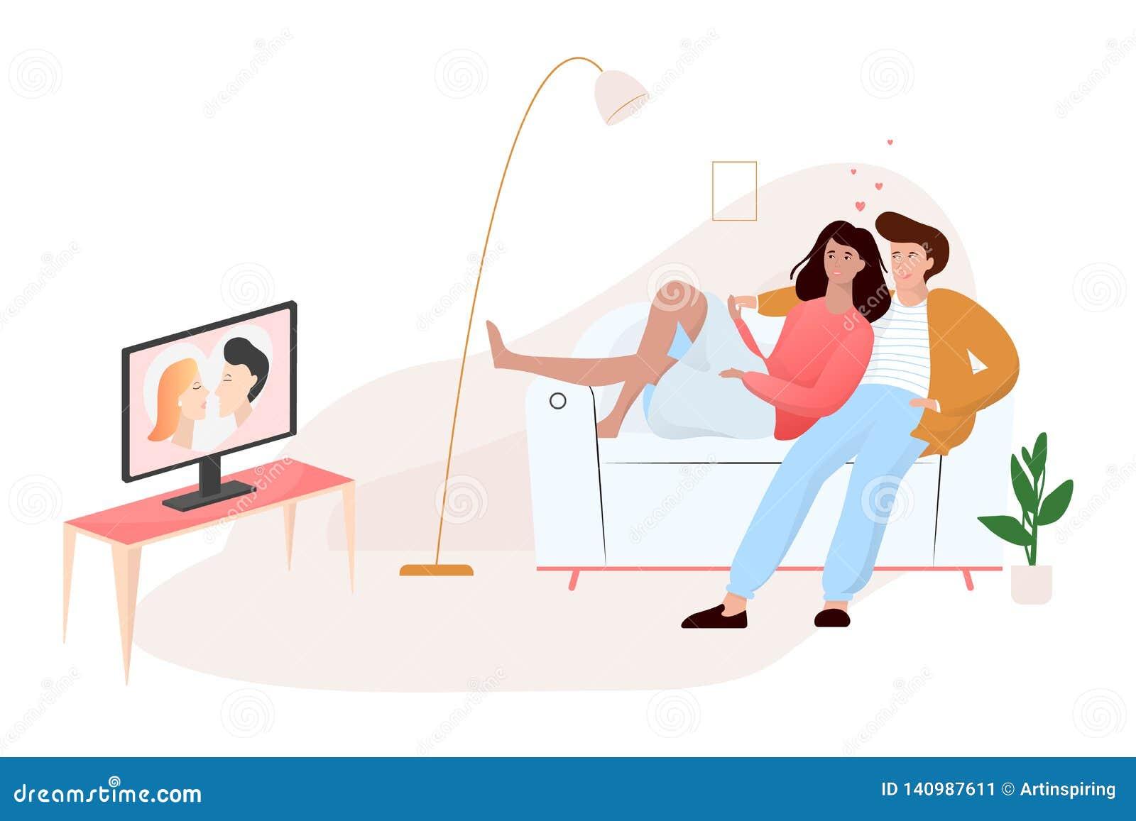 Couples de famille se reposant à la maison sur le divan