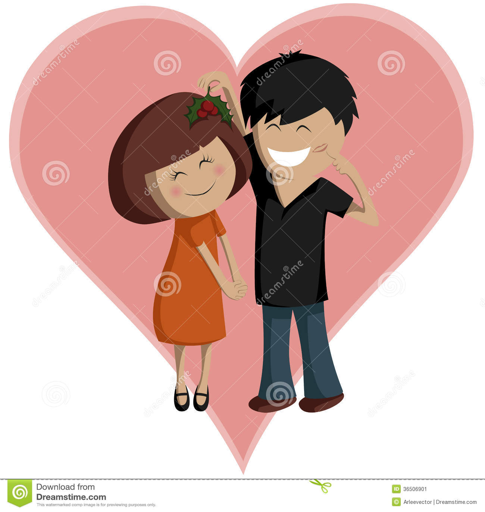 Couples de gui pour la Saint-Valentin