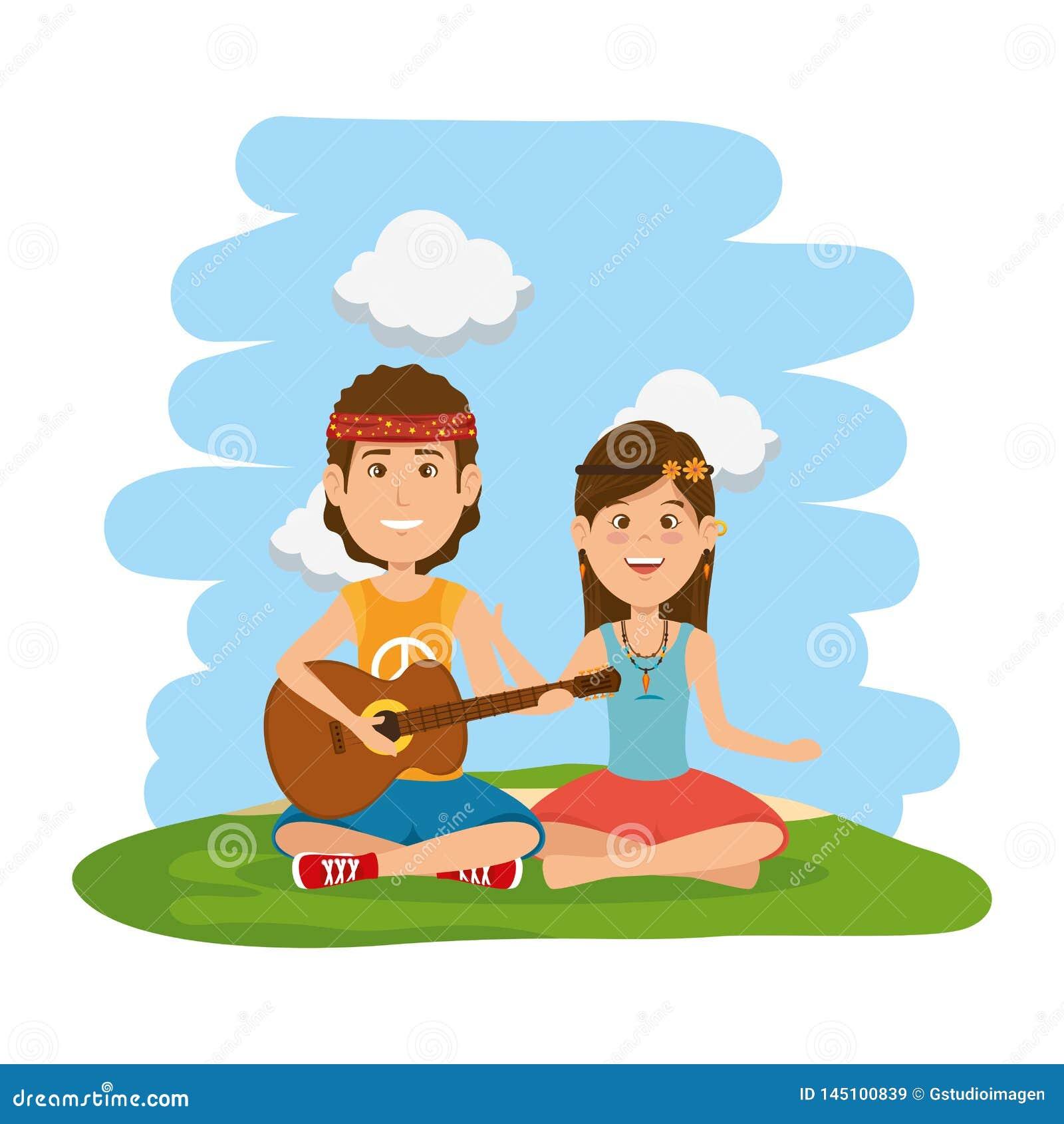 Couples de hippies jouant la guitare dans le domaine