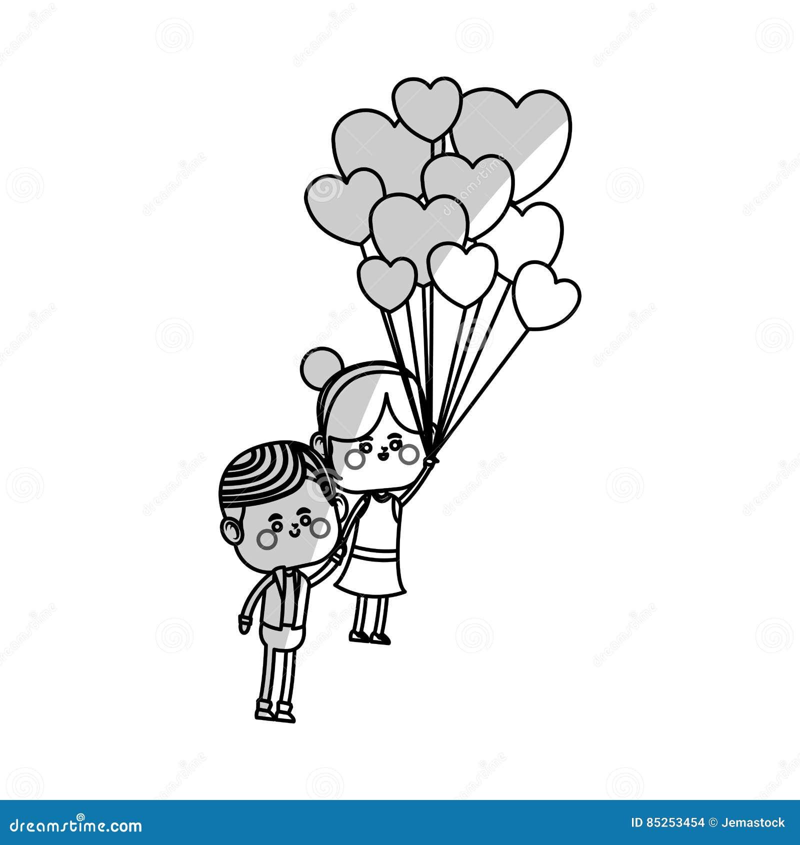 Couples De Kawaii Dans L Amour Illustration De Vecteur
