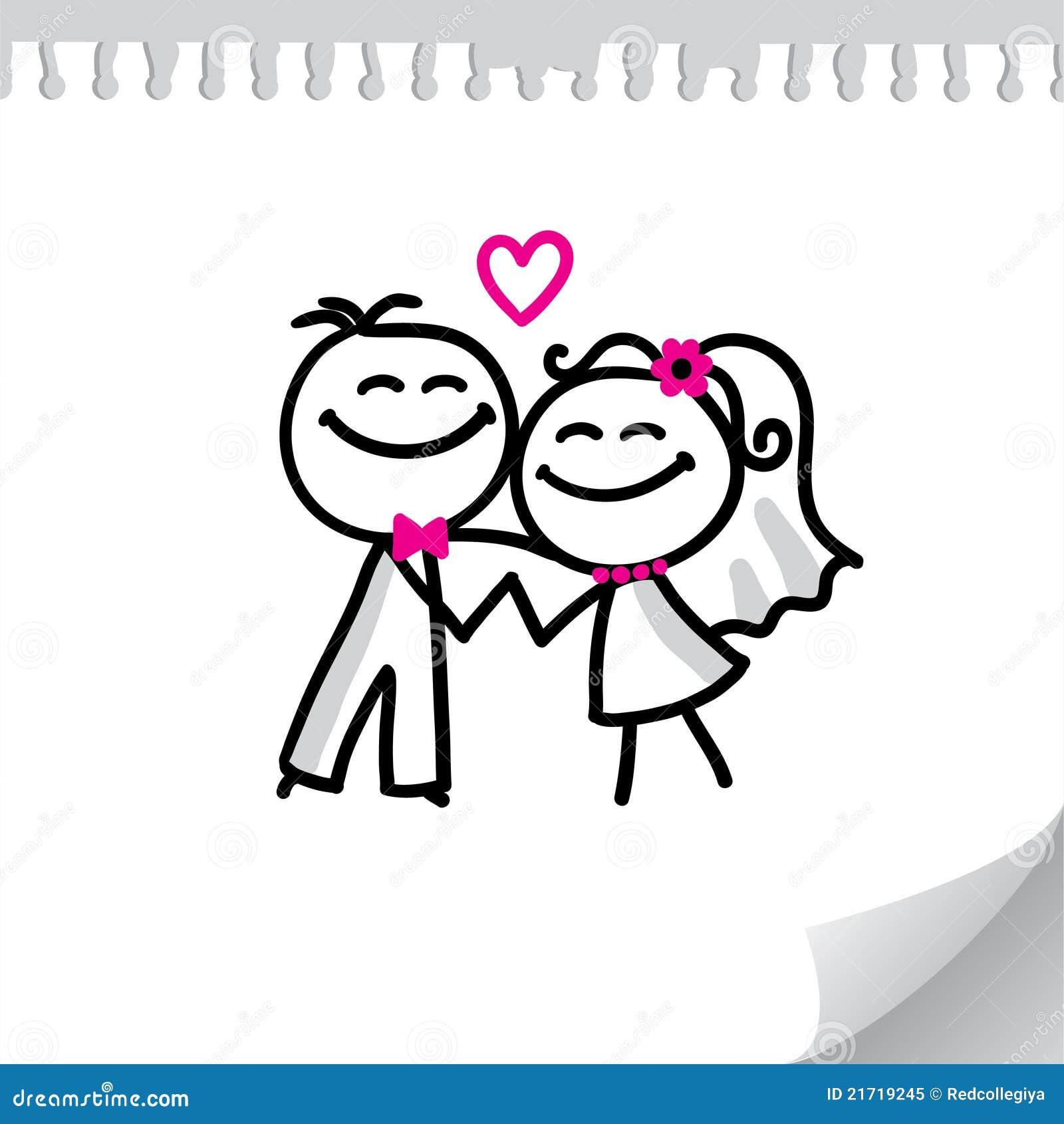 Couples de mariage de dessin animé sur la feuille de papier réaliste