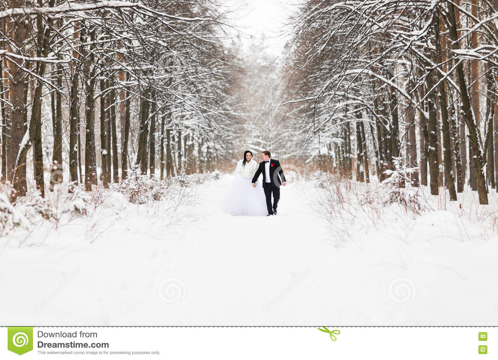 Couples de mariage en hiver