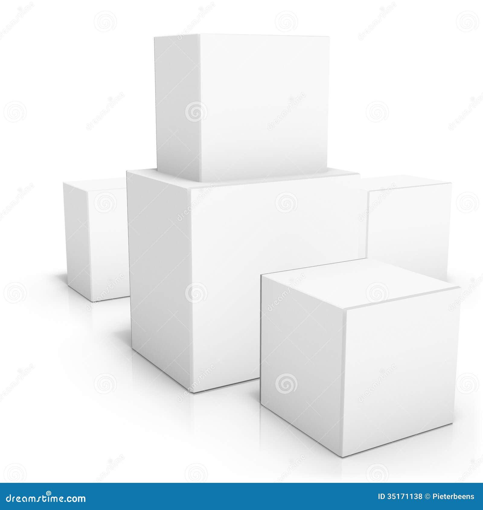 Couples des boîtes vides sur le fond blanc