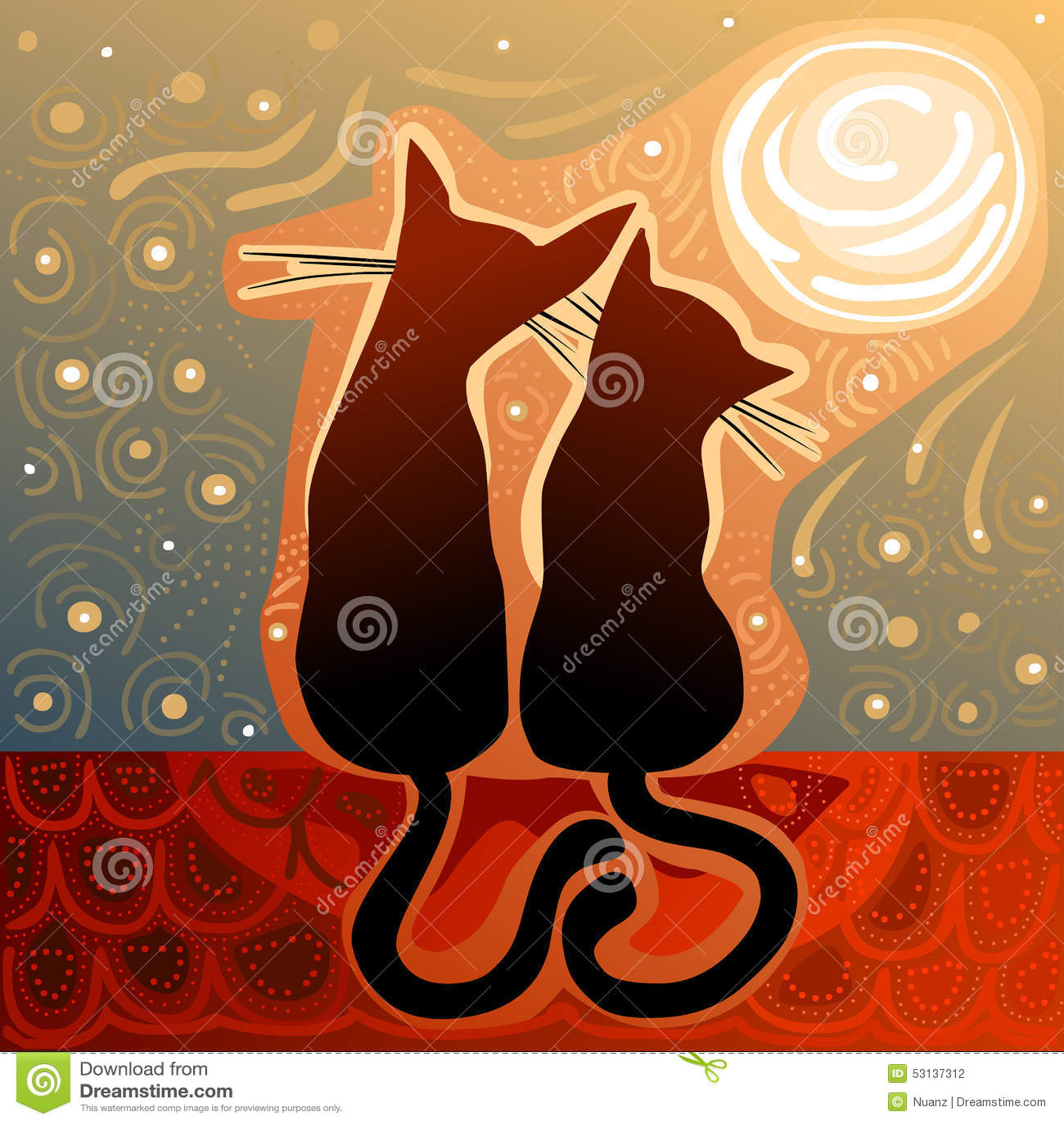 Couples Des Chats Dans L\'amour Sur Un Toit De Maison Illustration de ...