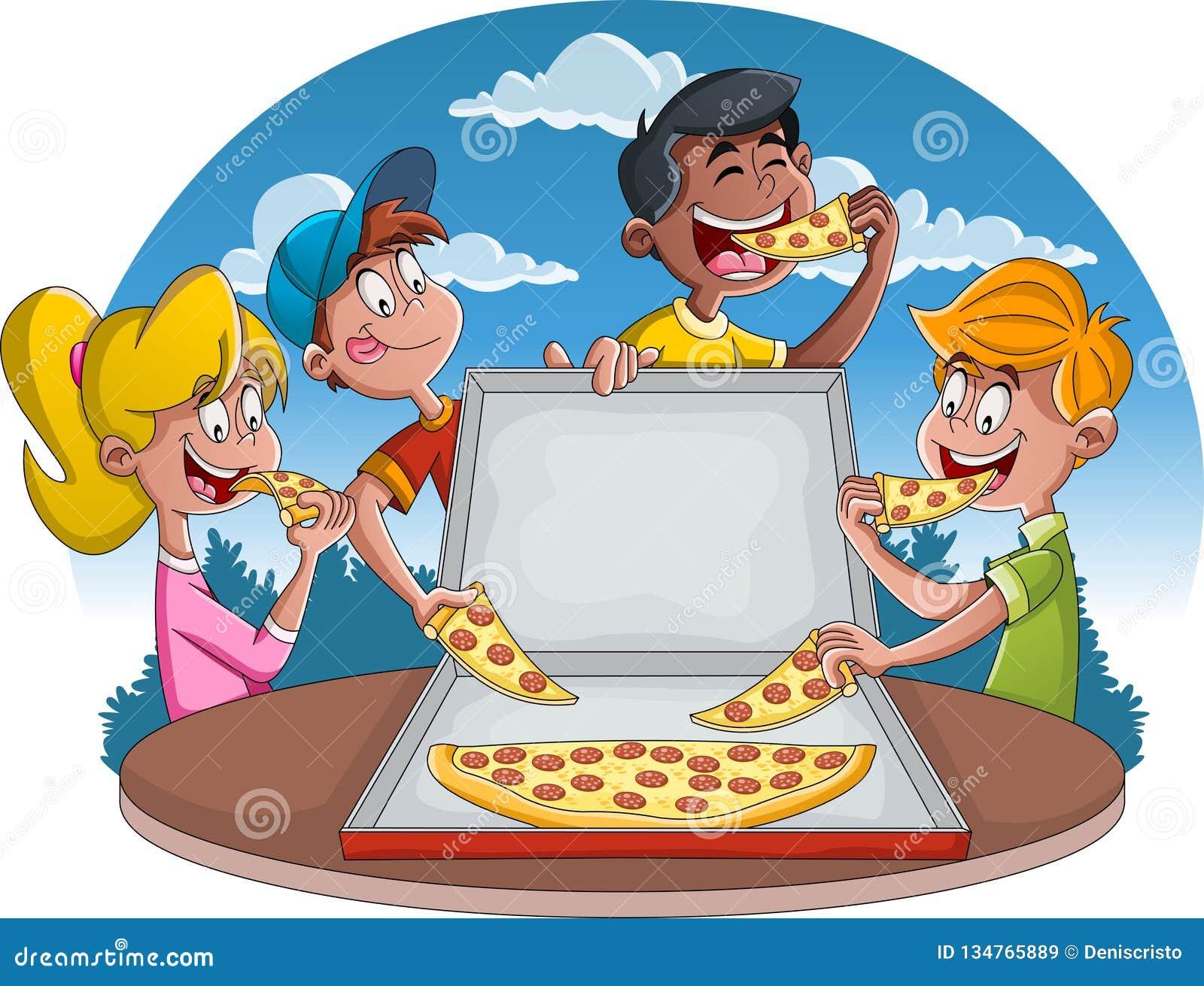 Couples des personnes de bande dessinée mangeant de la nourriture industrielle Groupe d enfants de bande dessinée mangeant de la