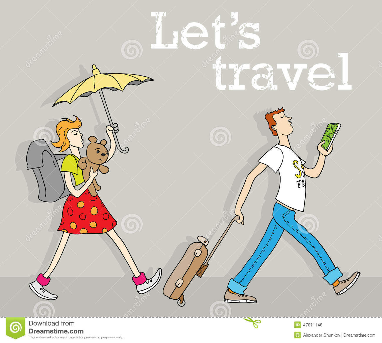 Couples dr les de marche des voyageurs avec le bagage - Voyageur dessin ...