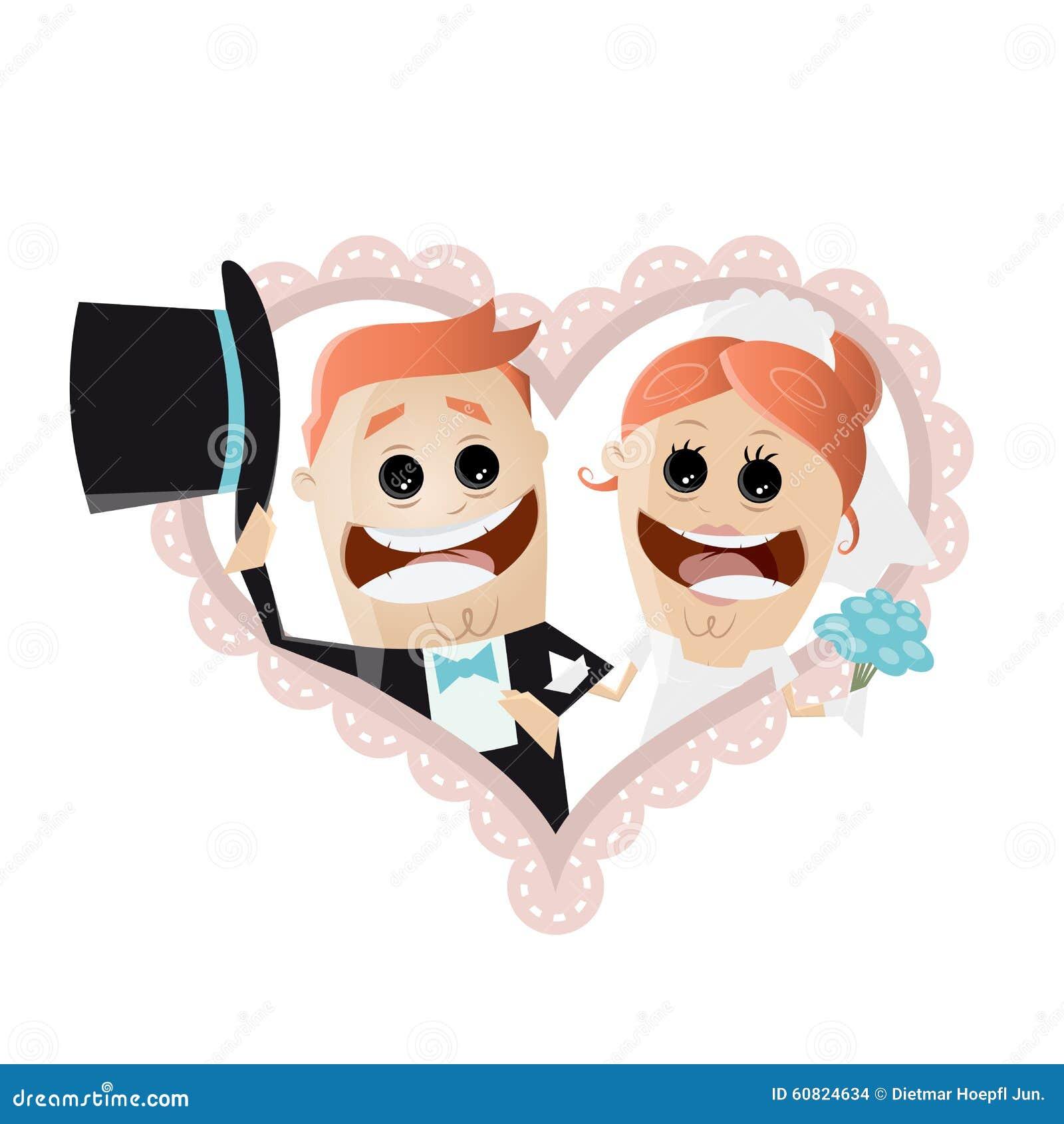 Couples Drôles De Mariage De Bande Dessinée à Un Coeur ...