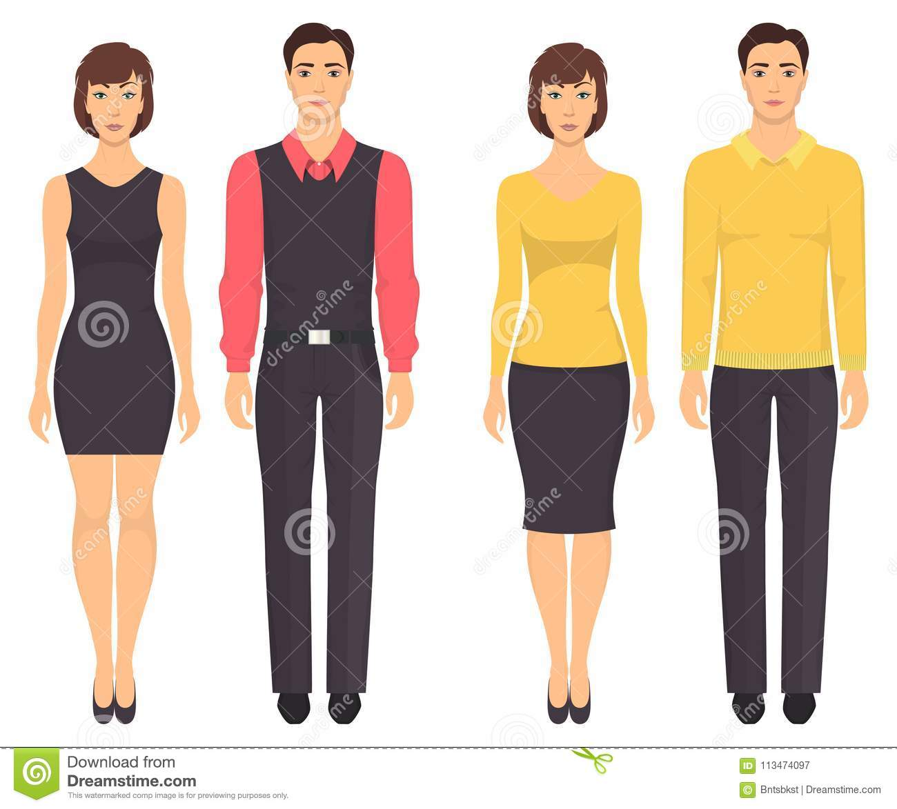 81803606fe8 Couples in elegant clothes. Young men and women standing in full growth in  casual clothes. Basic wardrobe. Vector illustration