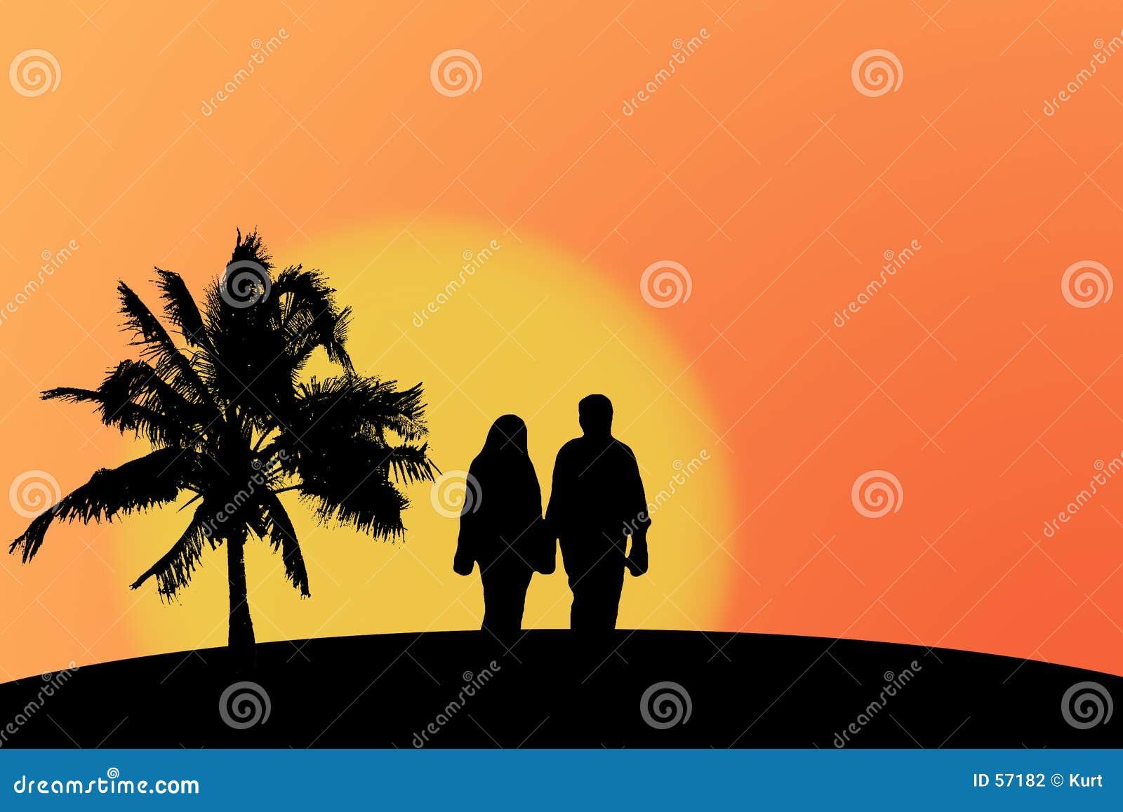 Download Couples Et Coucher Du Soleil Illustration Stock - Illustration du sunset, arbre: 57182