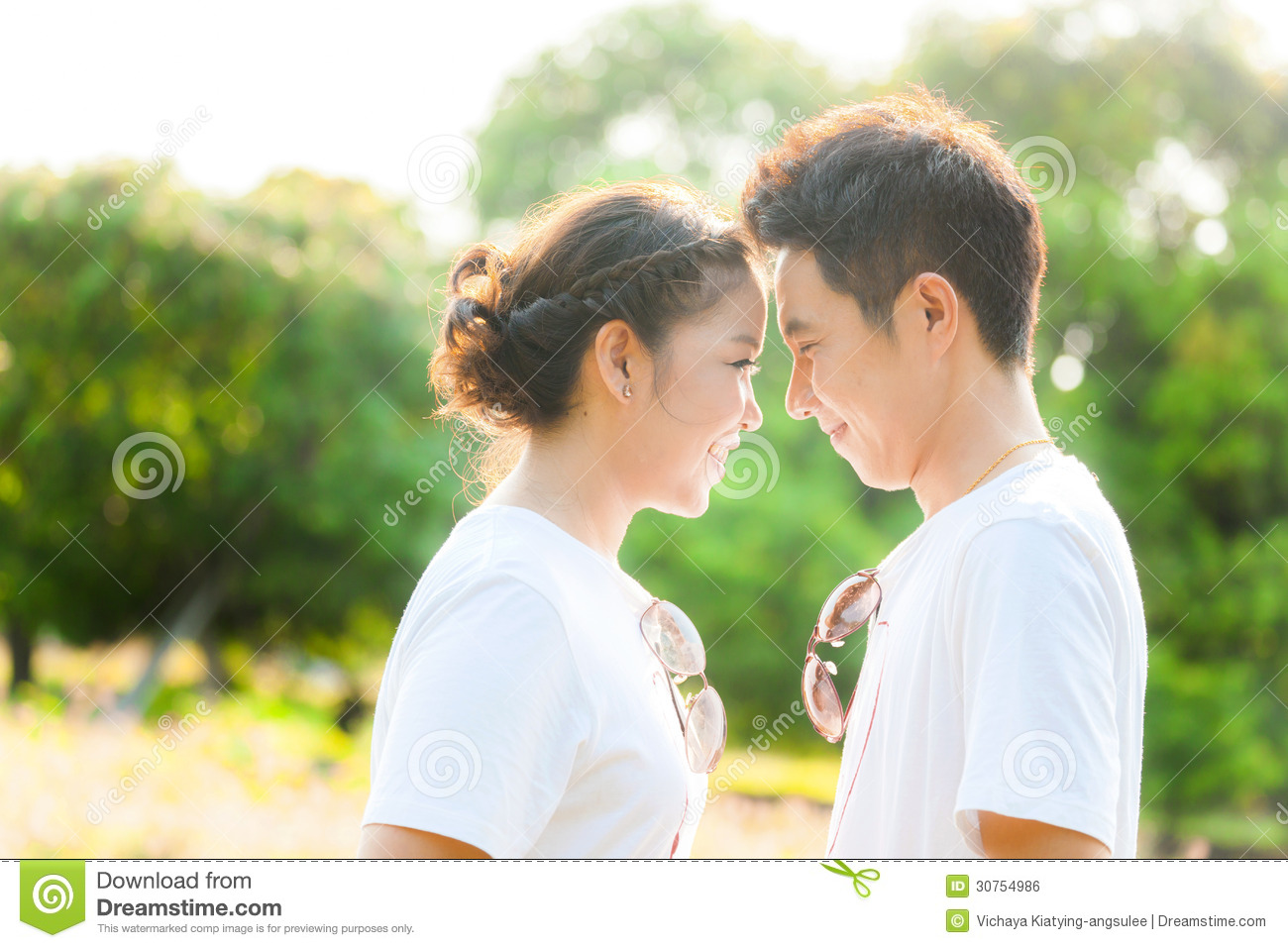 Couples in love at field