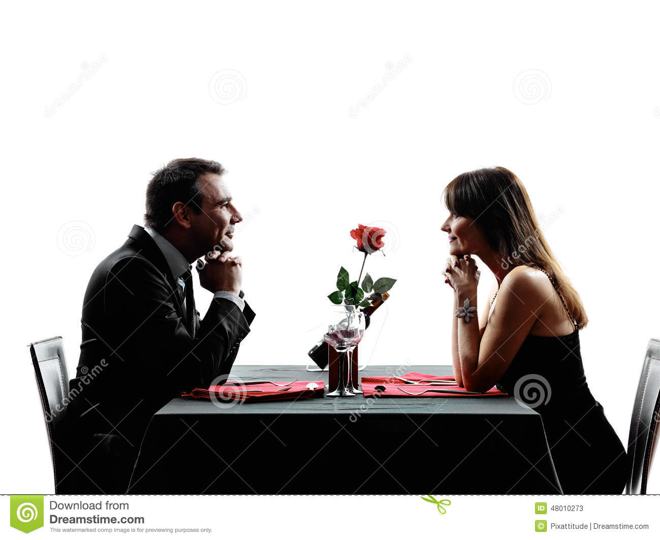 Couples Lovers Dating Dinner Silhouettes Stock Image Image Of