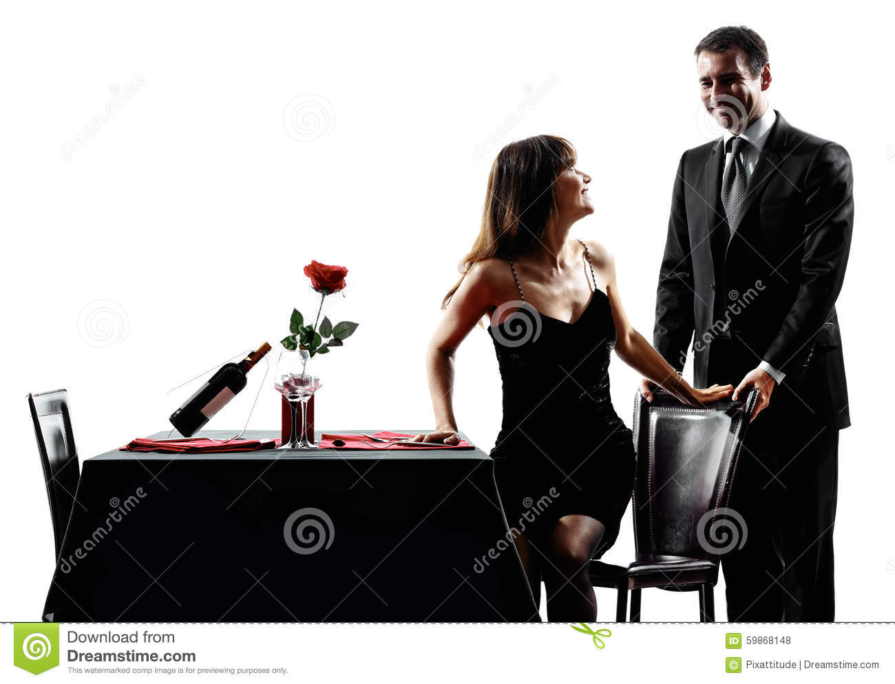 Couples Lovers Dating Romantic Dinner Silhouettes Stock Photo