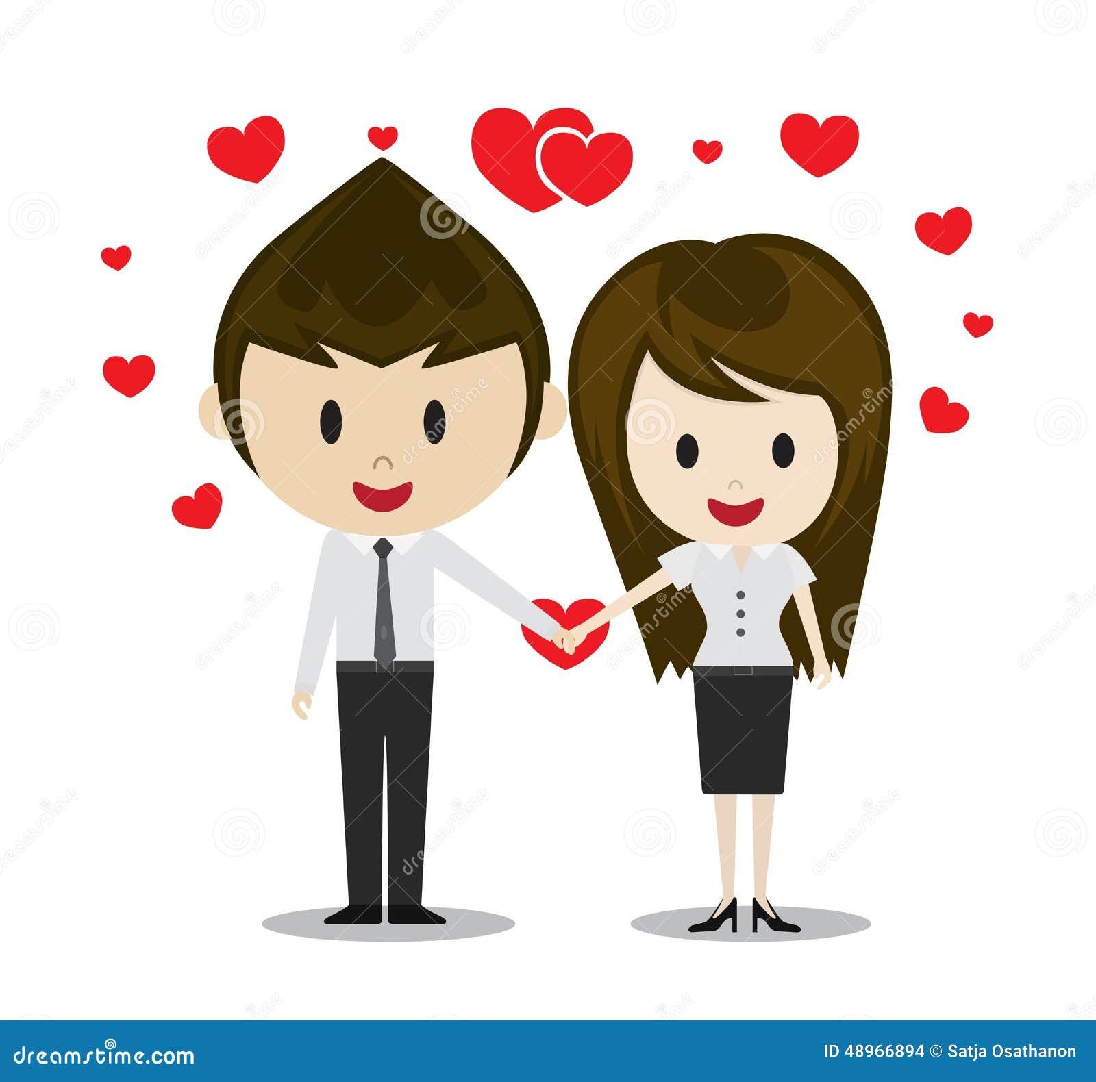 Couples Mignons Dans L Amour Tenant Des Mains Personnages De Dessin