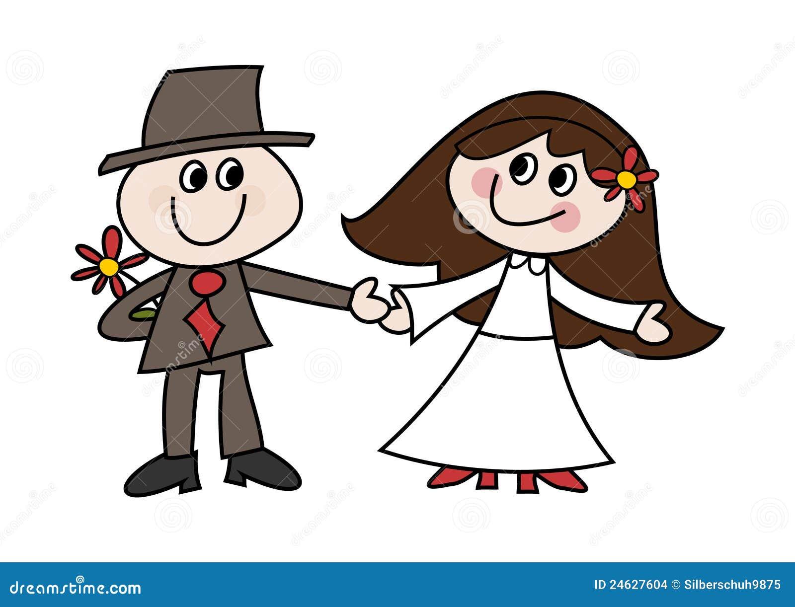 couples mignons de mariage de dessin anim illustration de. Black Bedroom Furniture Sets. Home Design Ideas