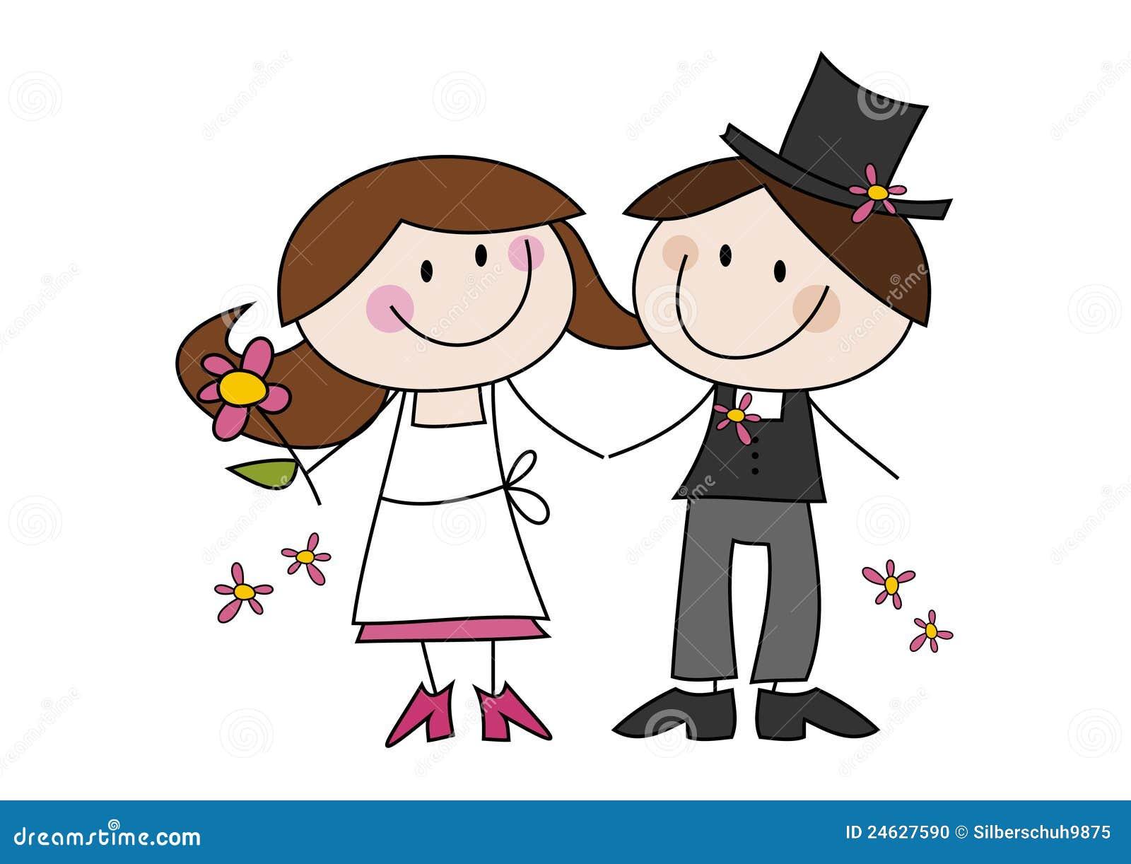 Couples mignons de mariage de dessin animé Photo stock