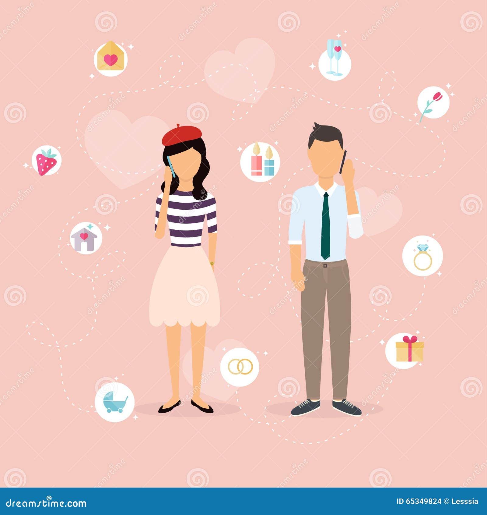 Couples Parlant A Un Telephone Portable Homme Et Femme De Dessin