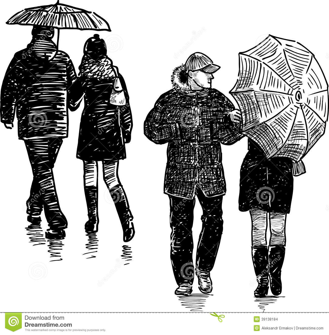 Couples In The Rain Stock Photo