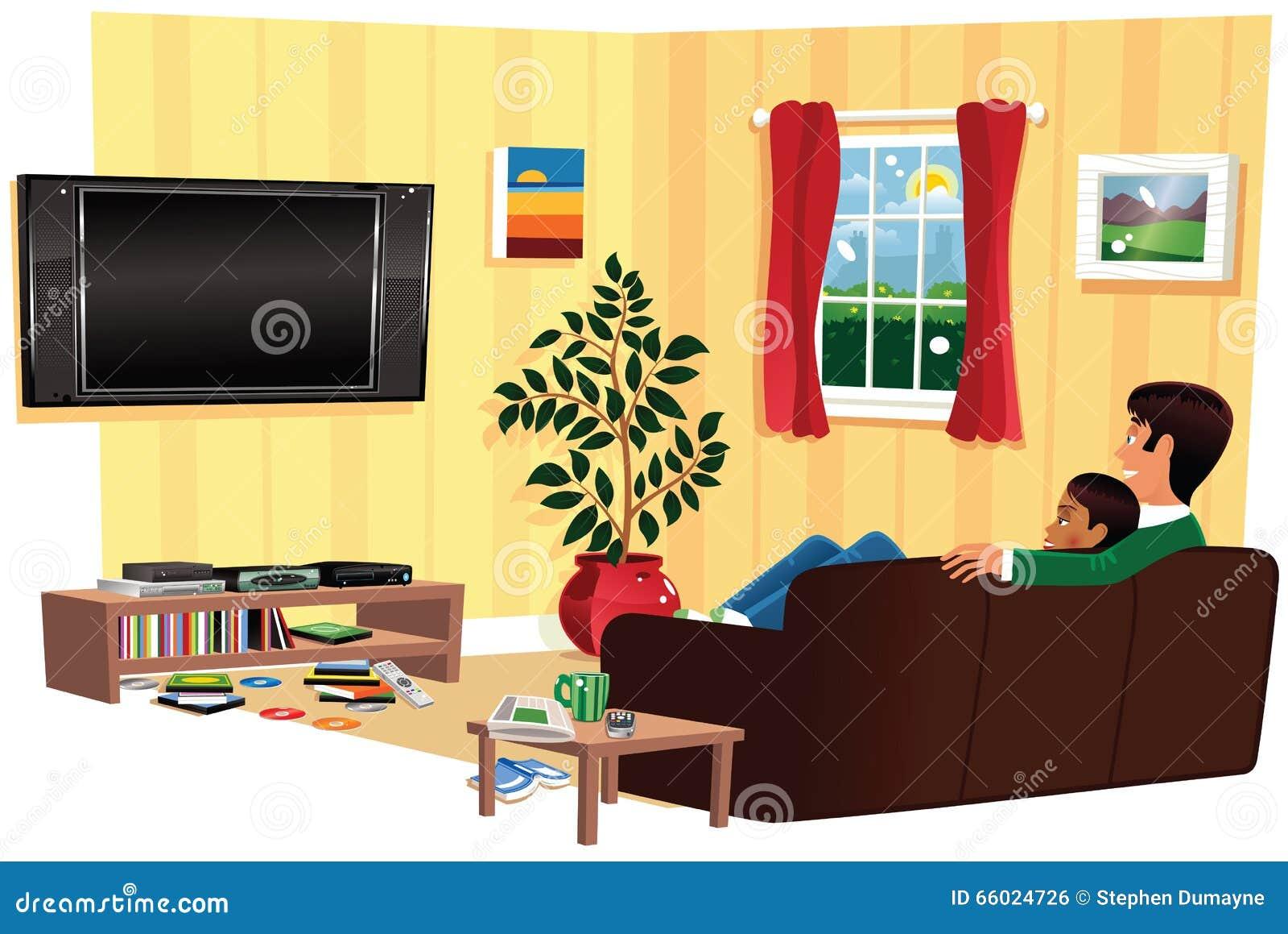 couples regardant la tv dans le salon photo stock image 66024726. Black Bedroom Furniture Sets. Home Design Ideas