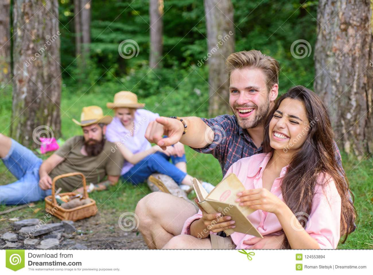 Couples Spend Time Outdoors On Sunny Day  Youth On Picnic Or