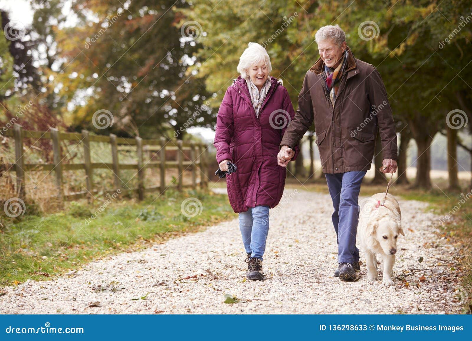 Couples supérieurs actifs sur le chemin d Autumn Walk With Dog On à travers la campagne