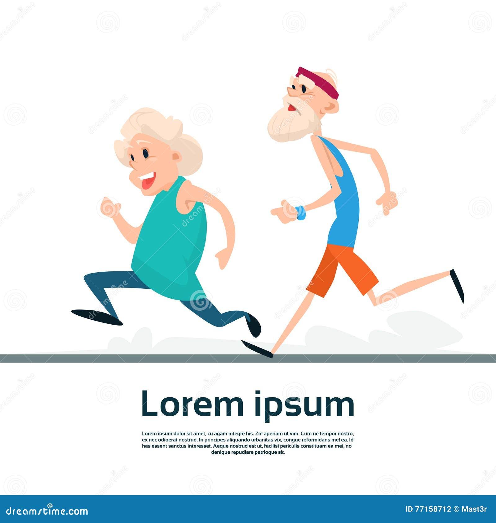 Couples supérieurs courant la séance d entraînement d exercice de forme physique de sport de taqueurs de femme de vieil homme