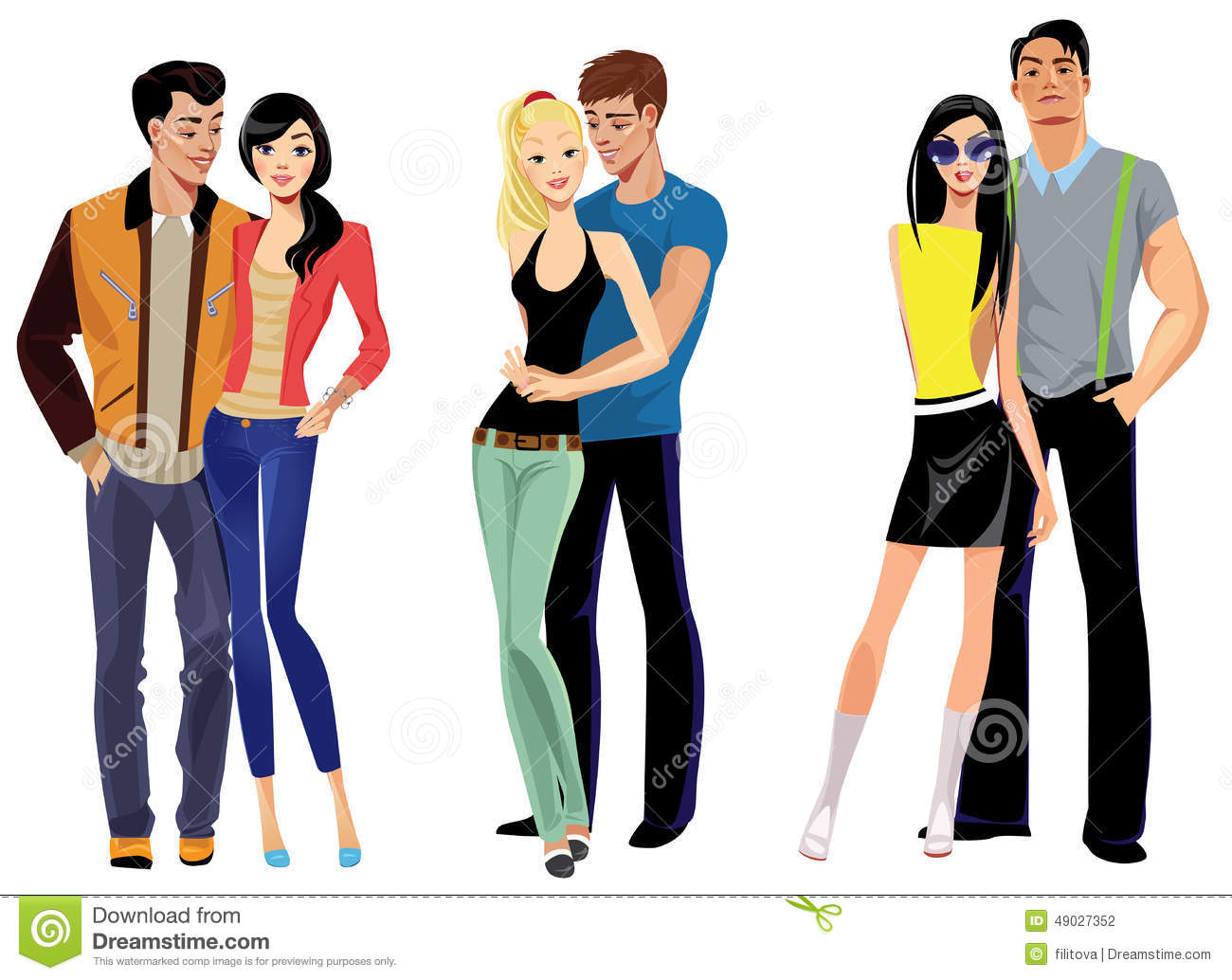 Couples Of People In Cafe Vector Illustration With Friends Men And Women Sitting At Tables