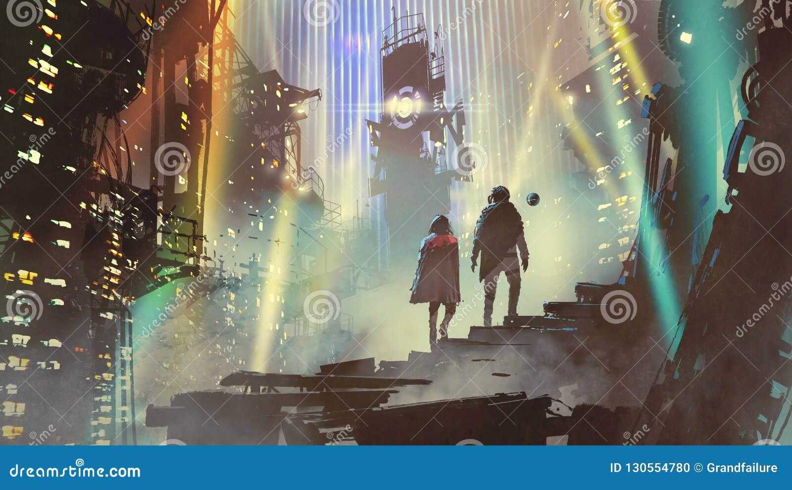 Couplez dans le monde futuriste