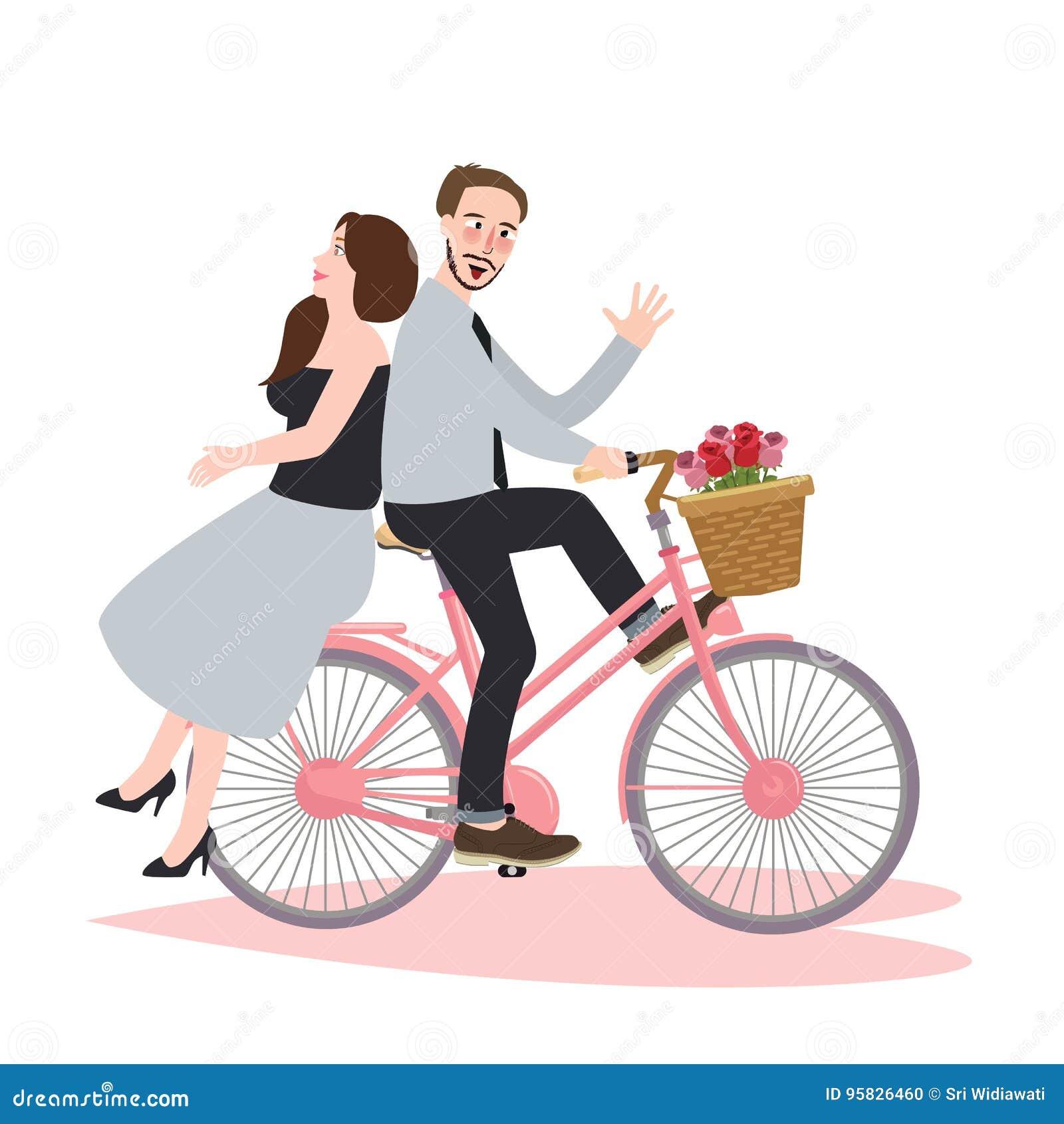 Couplez datation romane de bicyclette de vélo d équitation la belle riant le bonheur ensemble