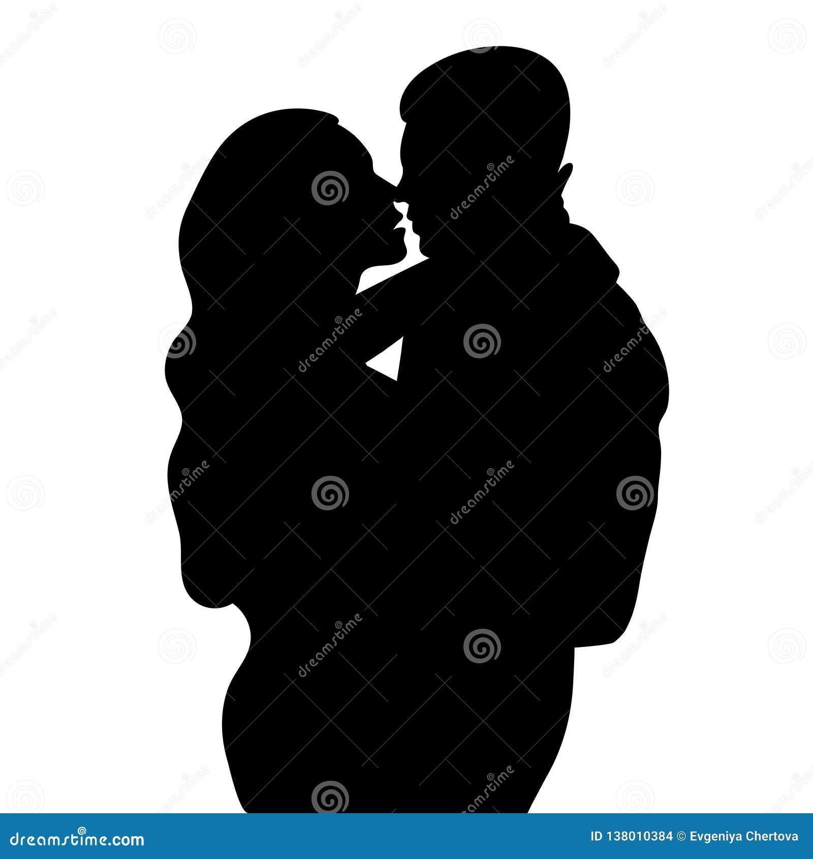 Couplez En Silhouette Damour Amants Bel Homme Et Femme