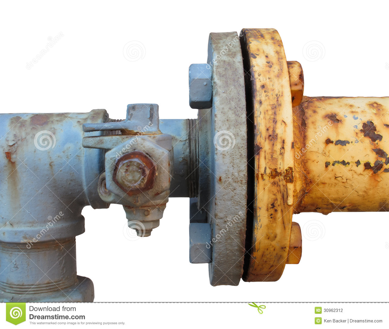 Coupling joining two rusty pipes isolated stock photo for What are old plumbing pipes made of