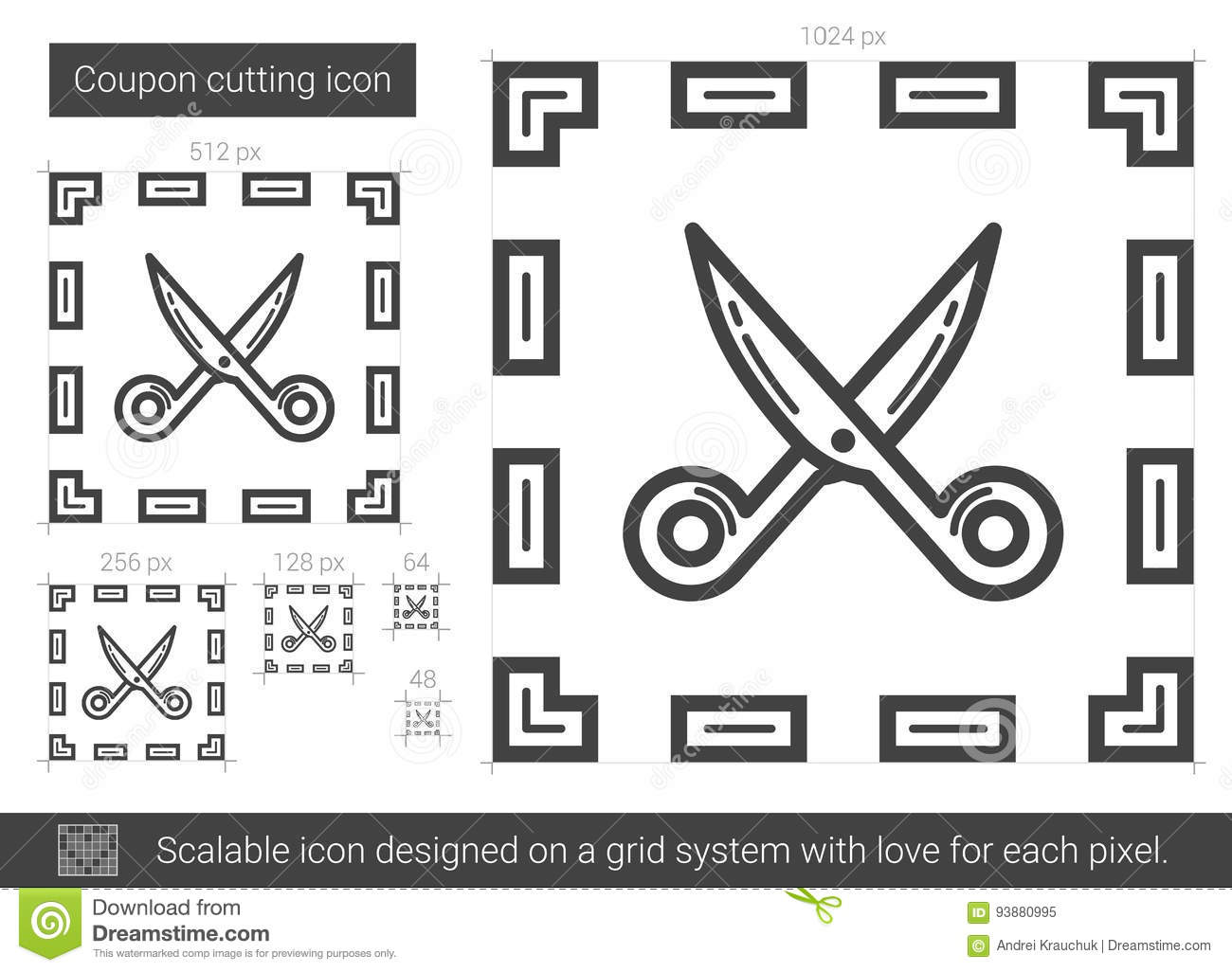 Coupon cutting line icon  stock vector  Illustration of