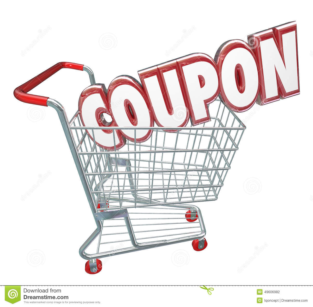 Coupon 3d Word Shopping Cart Spending Less Saving Sale Stock Illustration Image 49606982