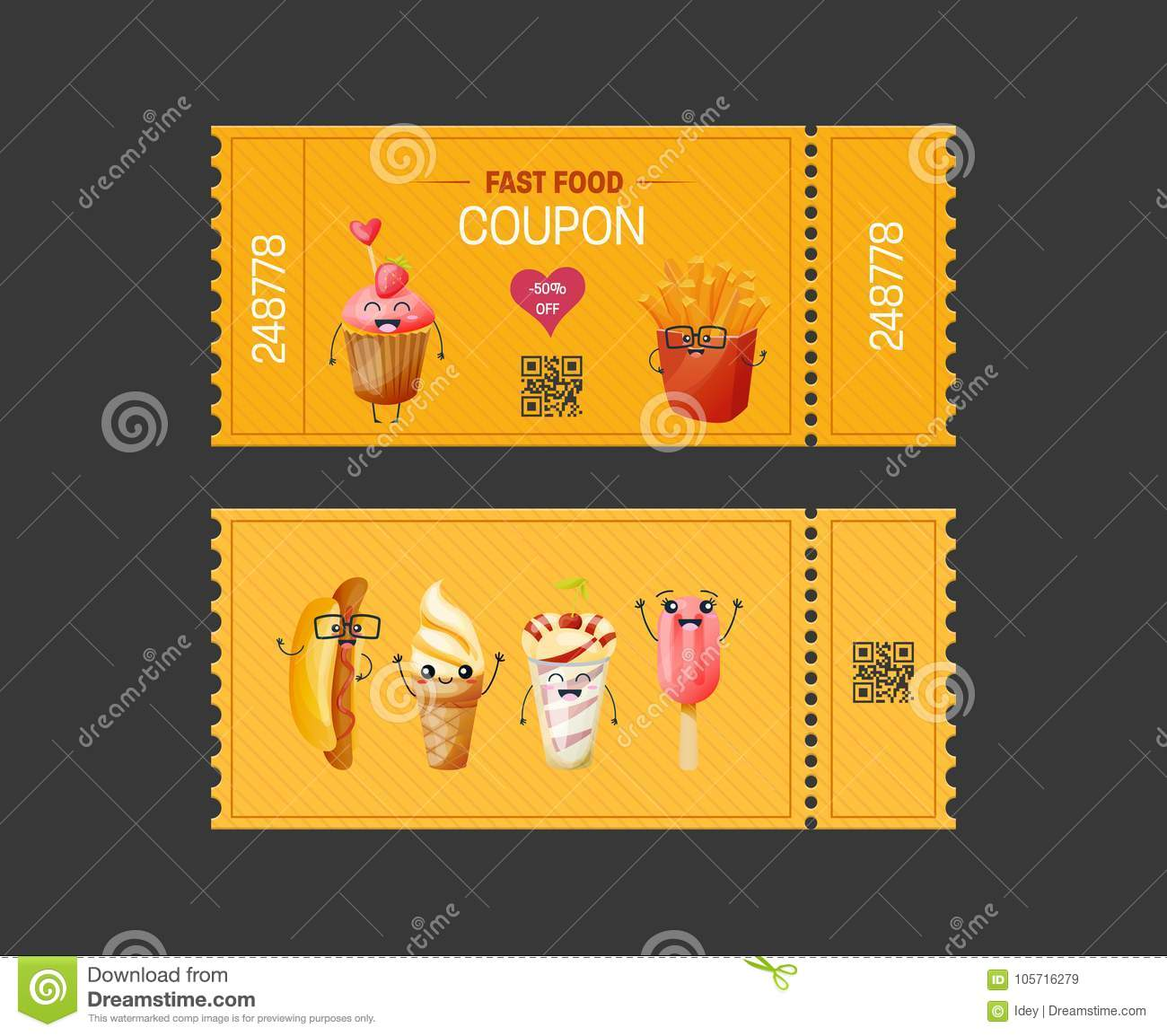 coupon fast food gift voucher ticket card coupon food drink
