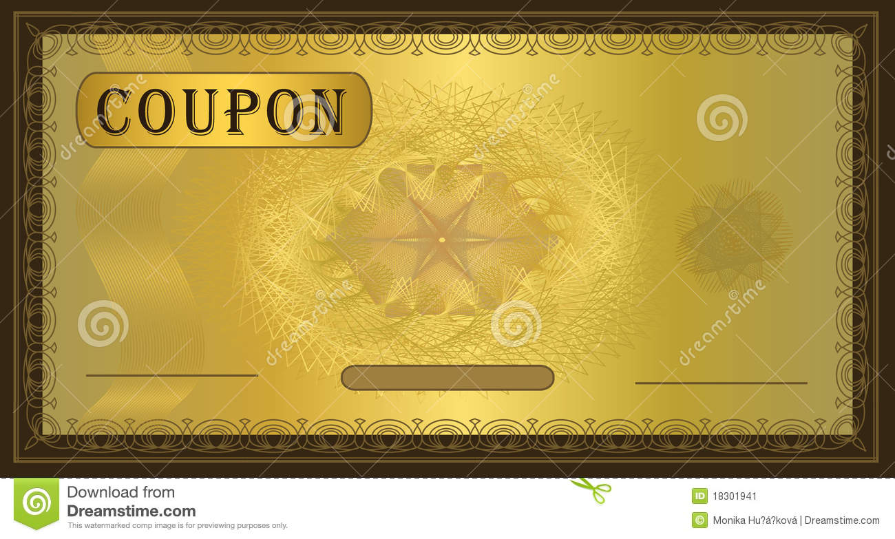 coupon gold frame brown stock vector  illustration of