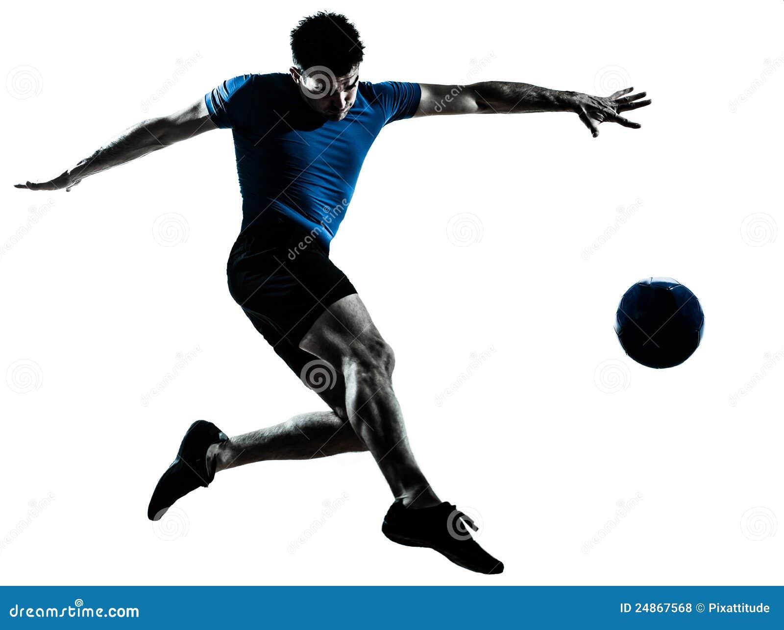 Coups de pied de vol de joueur de football du football d homme