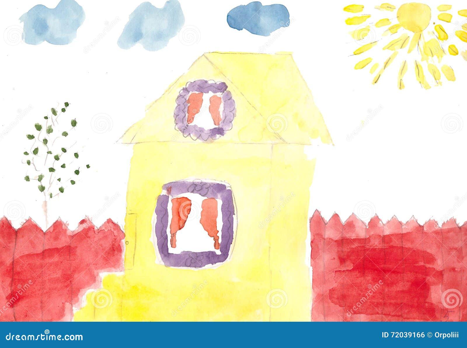 Cour à la maison un jour ensoleillé, aquarelle Retrait d enfant
