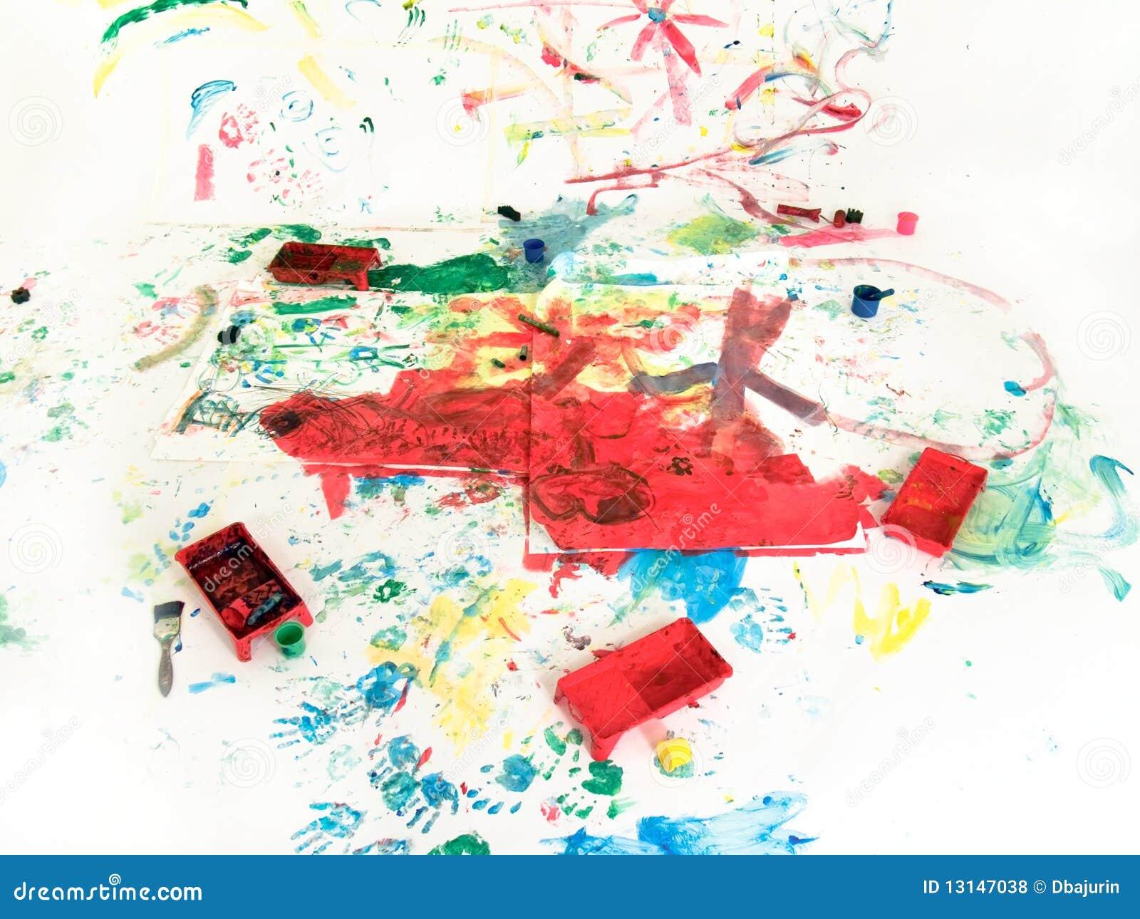 Cour de jeu de peinture de main d 39 enfants photos libres de droits image 13147038 - Peinture main enfant ...