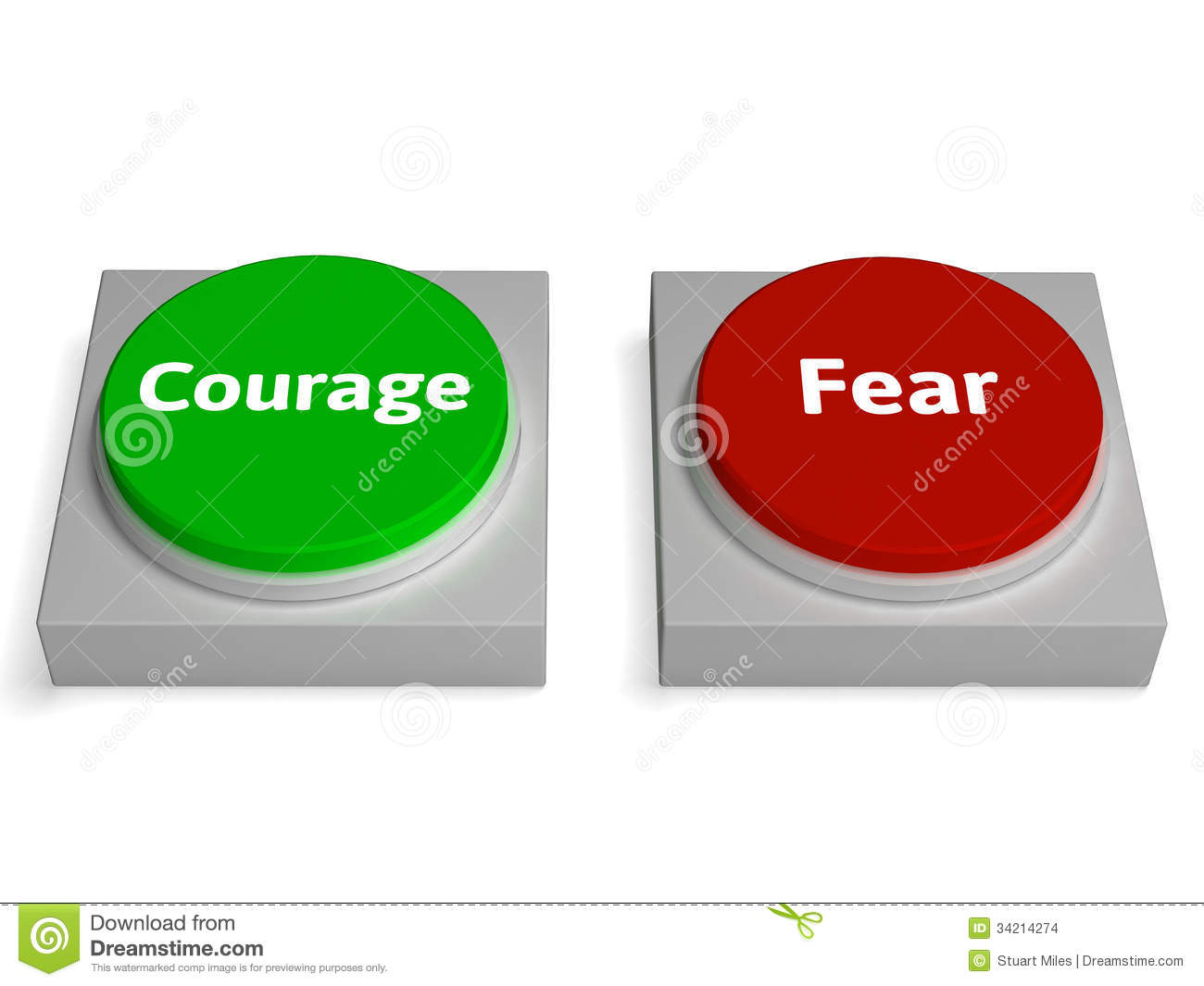 Courage Fear Buttons Shows Bravery Or Scared Stock Images ...