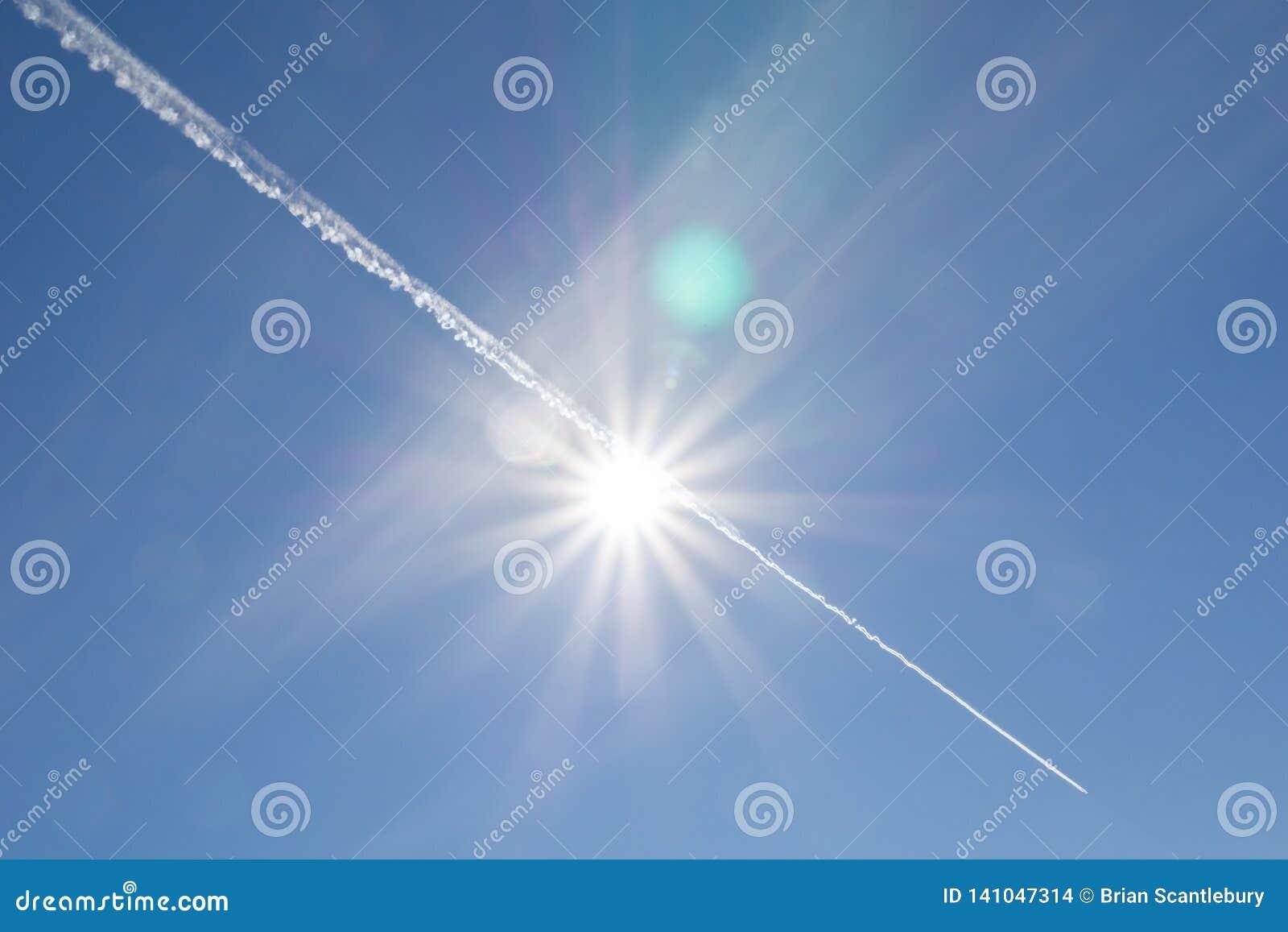 Courant de jet par la fusée du soleil