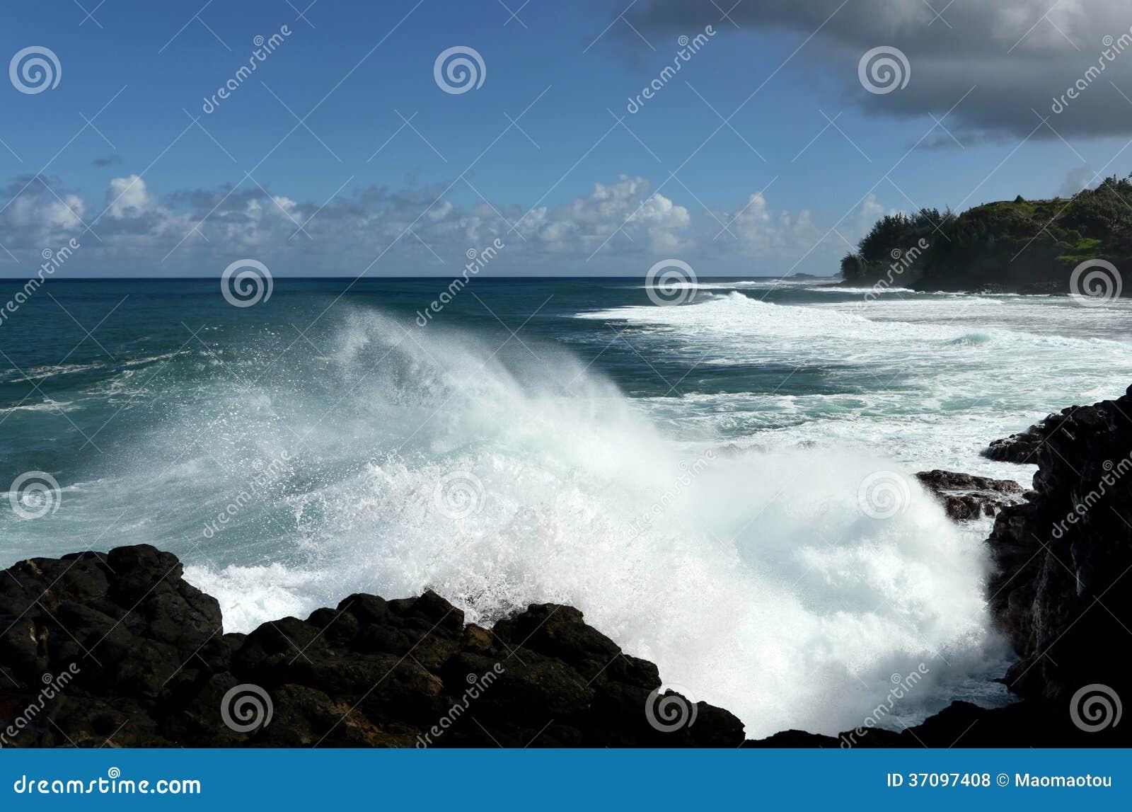 Courants de déchirure forts chez Kauai