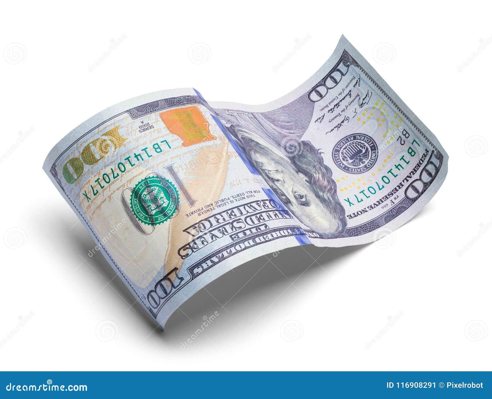 Courbé cent dollars Bill Upside Down