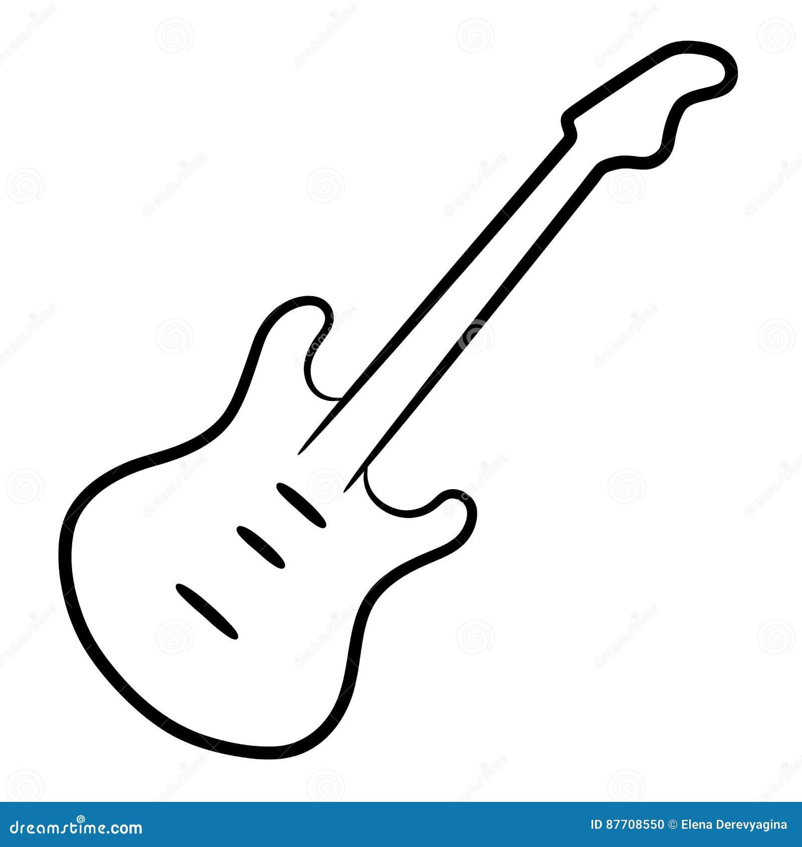 Courbes de niveau de noir de guitare électrique sur l illustration blanche de fond