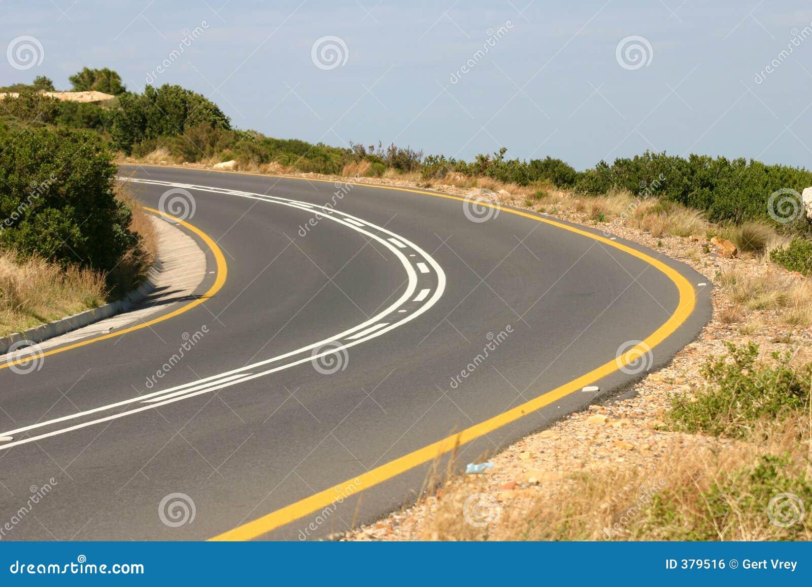 Courbure dans la route