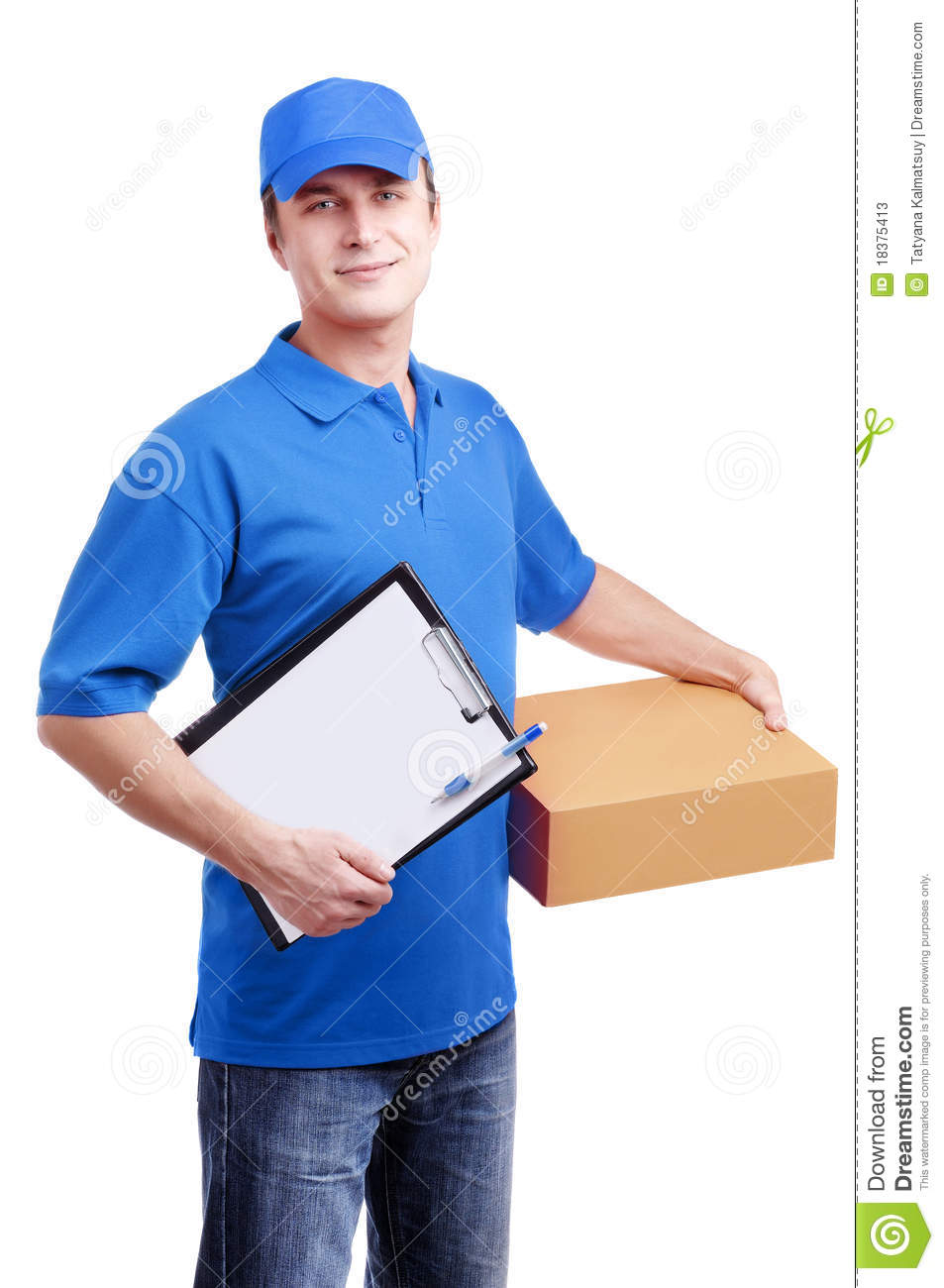 courier in blue uniform stock image  image of courier
